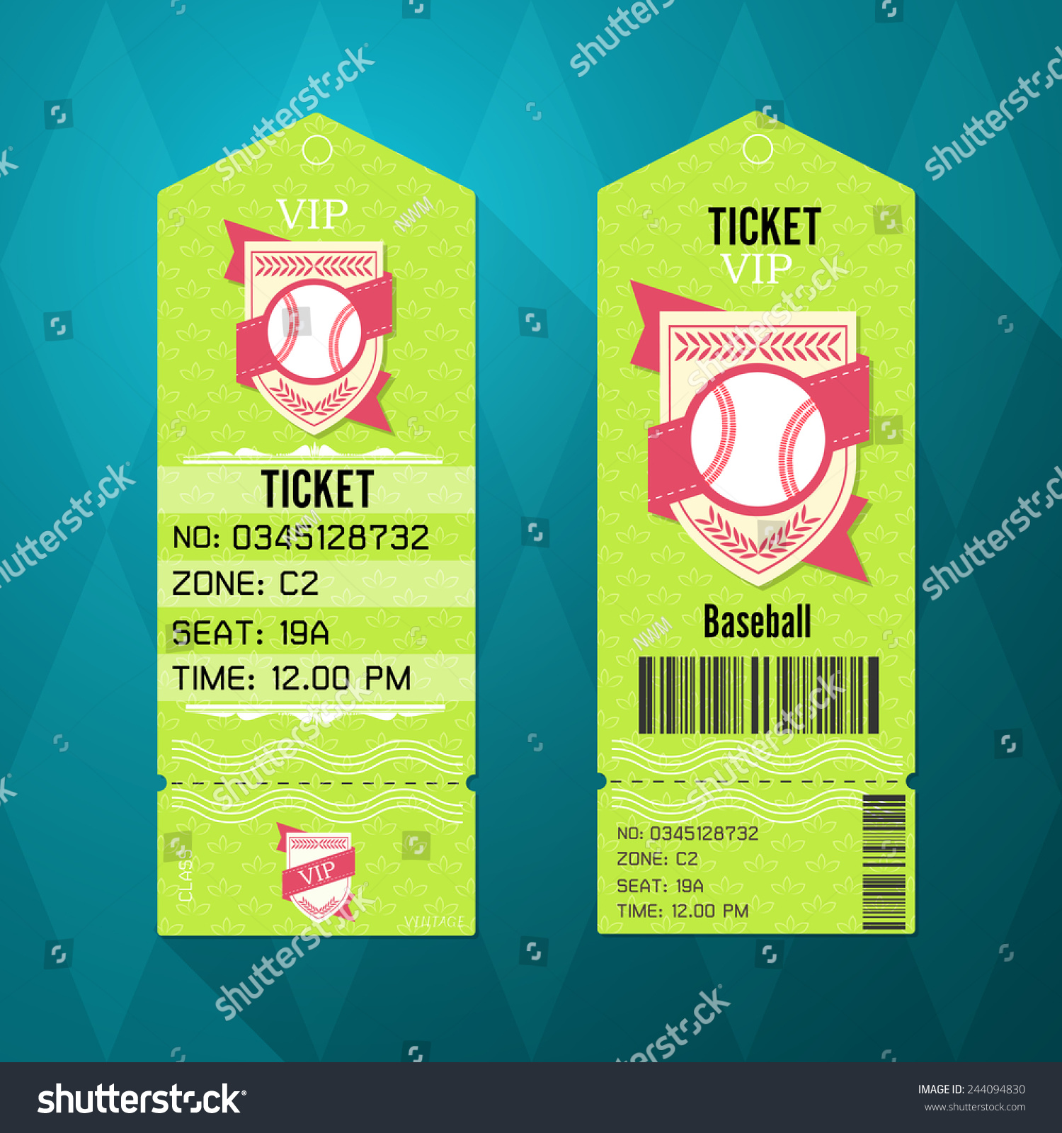 baseball ticket design template retro style stock vector 244094830 shutterstock. Black Bedroom Furniture Sets. Home Design Ideas