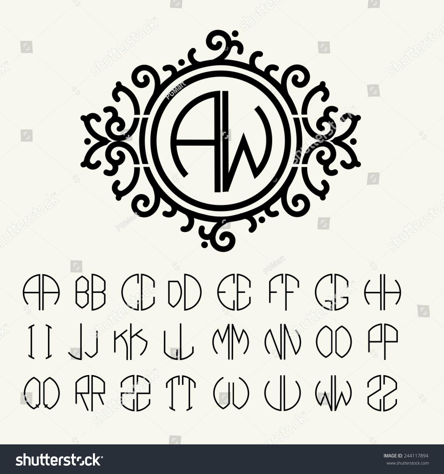 Stylish Graceful Monogram Elegant Line Art Stock Vector