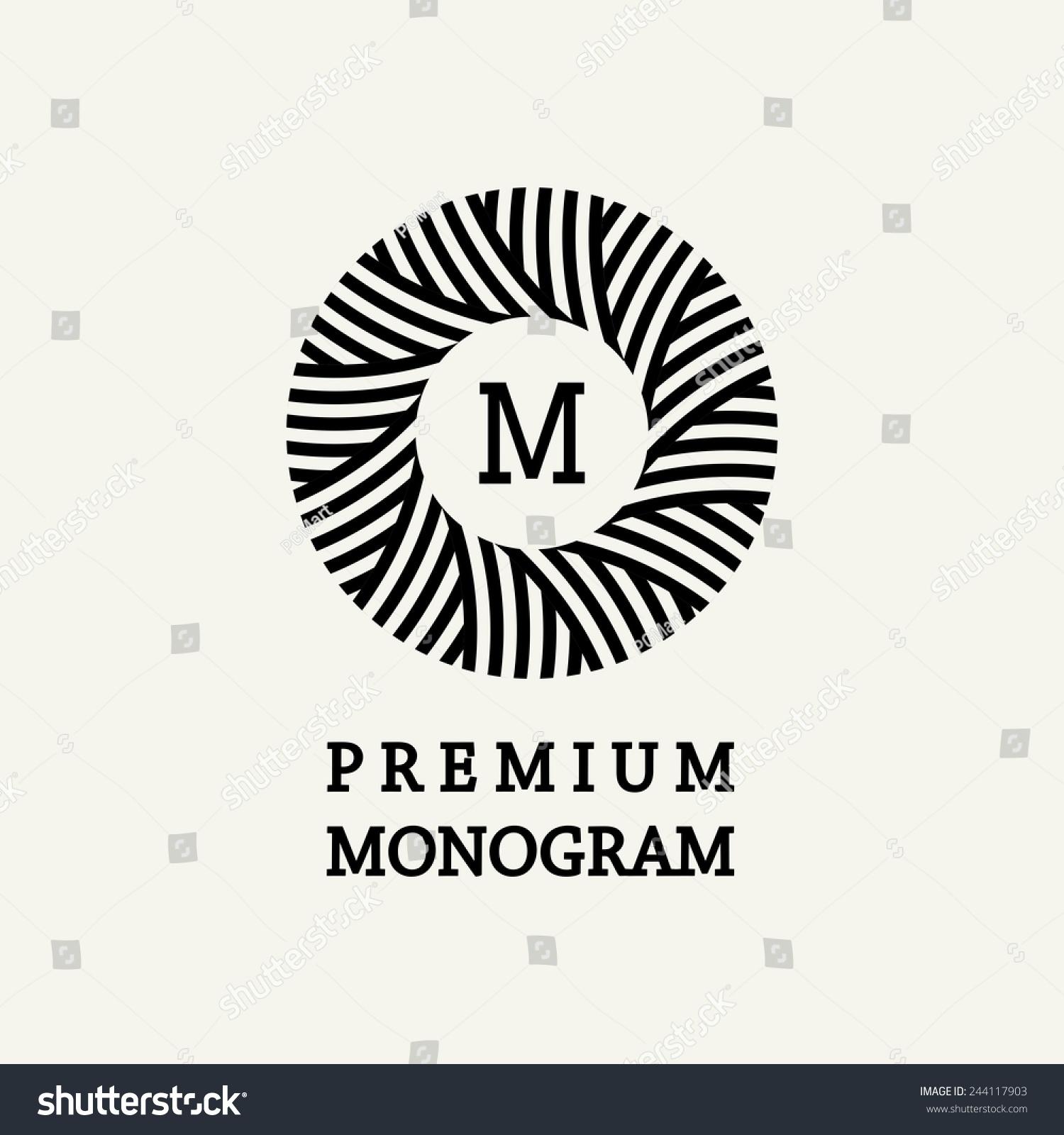 Line Art Logo Design : Stylish graceful floral monogram design elegant stock