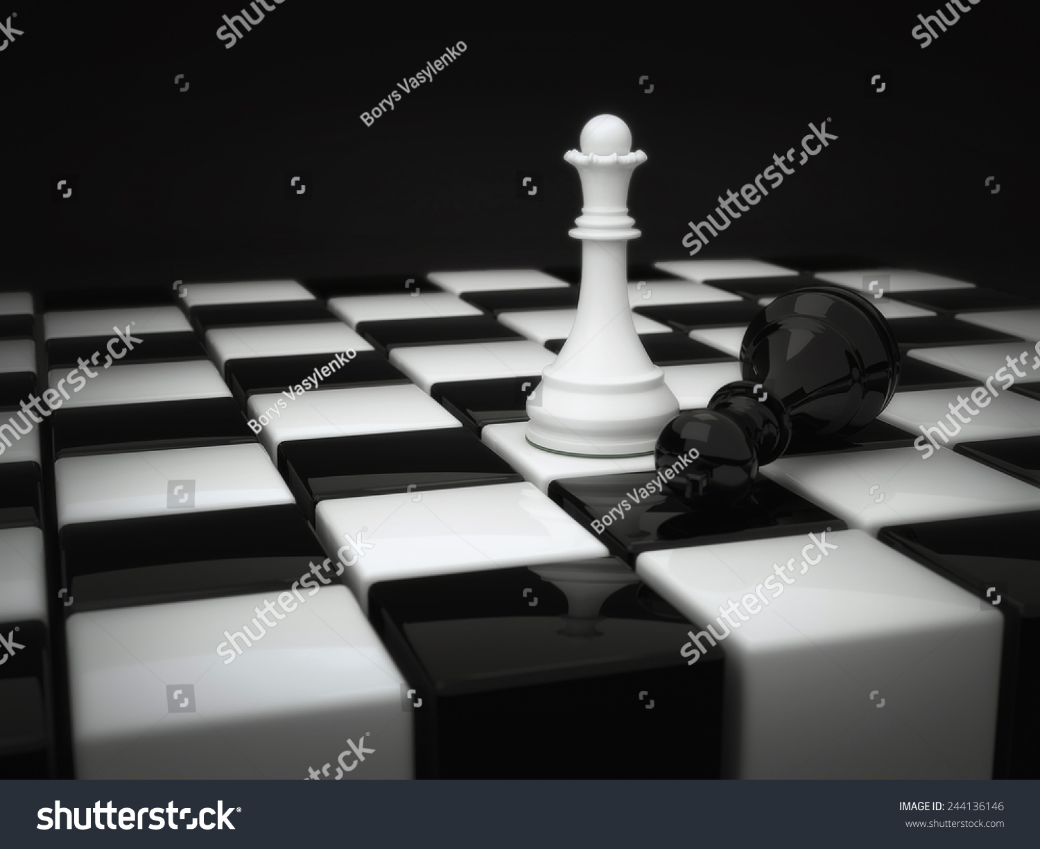 Chess pieces white queen and defeated the black king