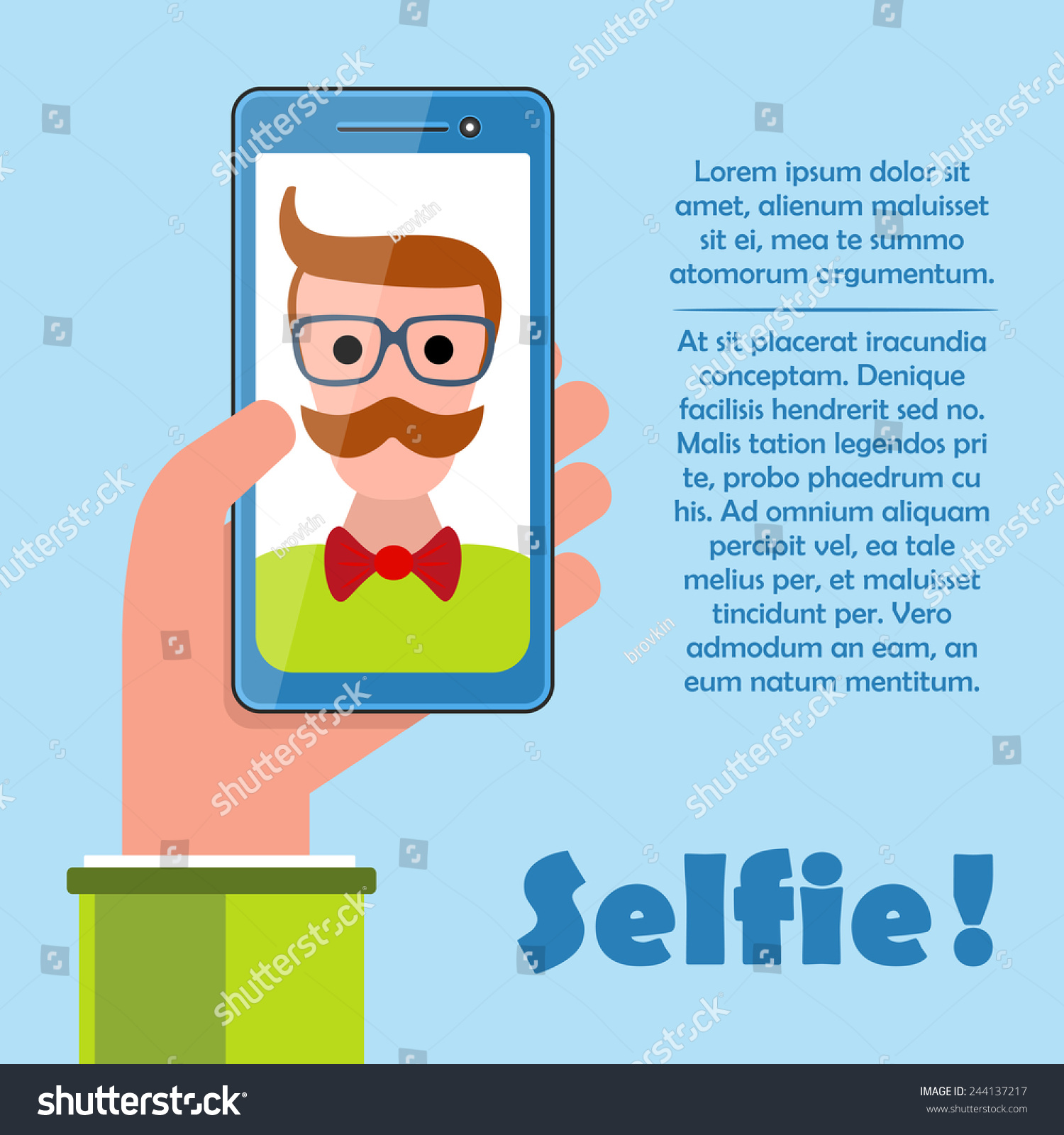 Selfie Poster Hipster Holding Smartphone Self Stock Vector