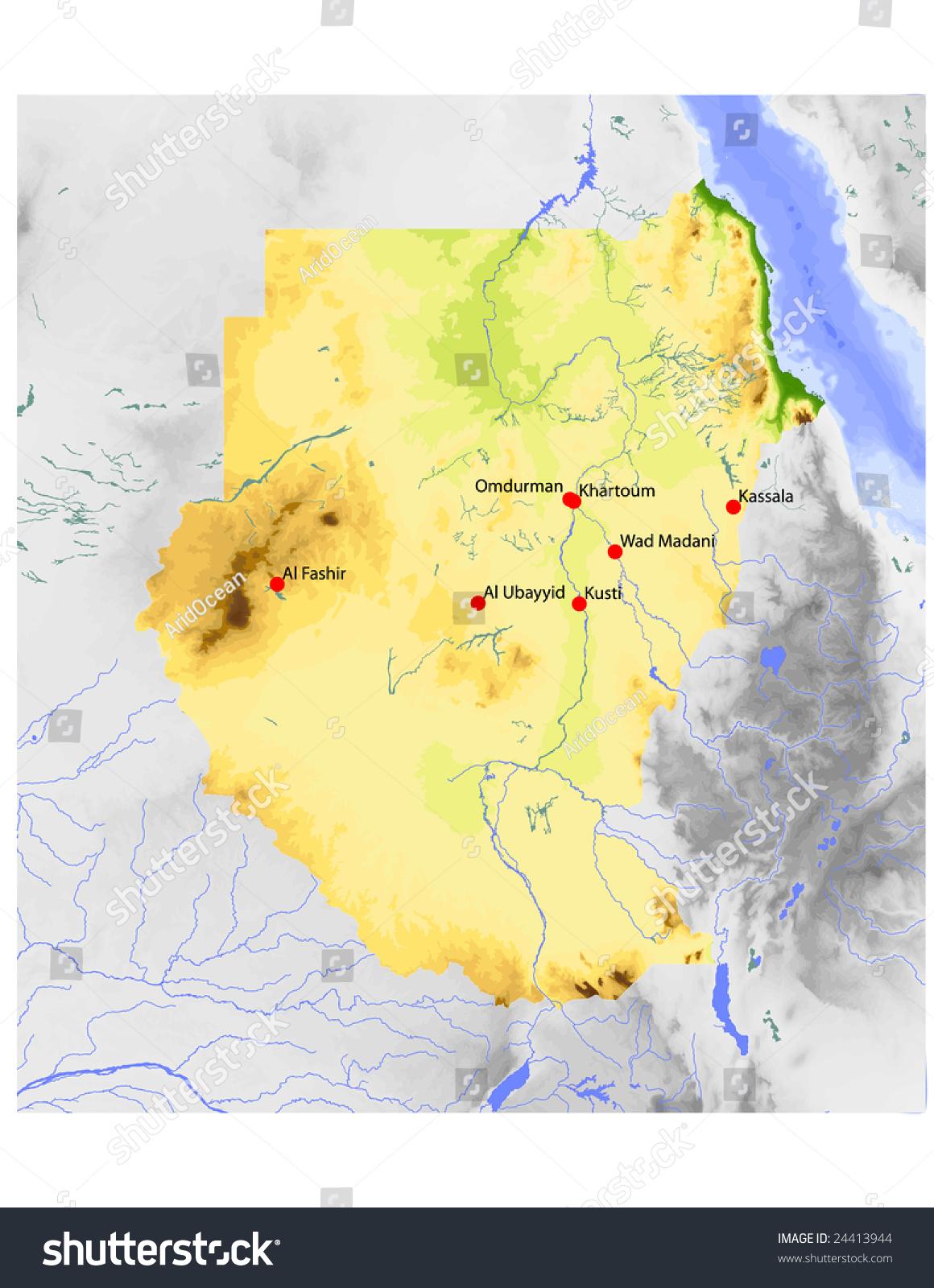 Sudan Physical Vector Map Colored According Stock Vector - Wad madani map