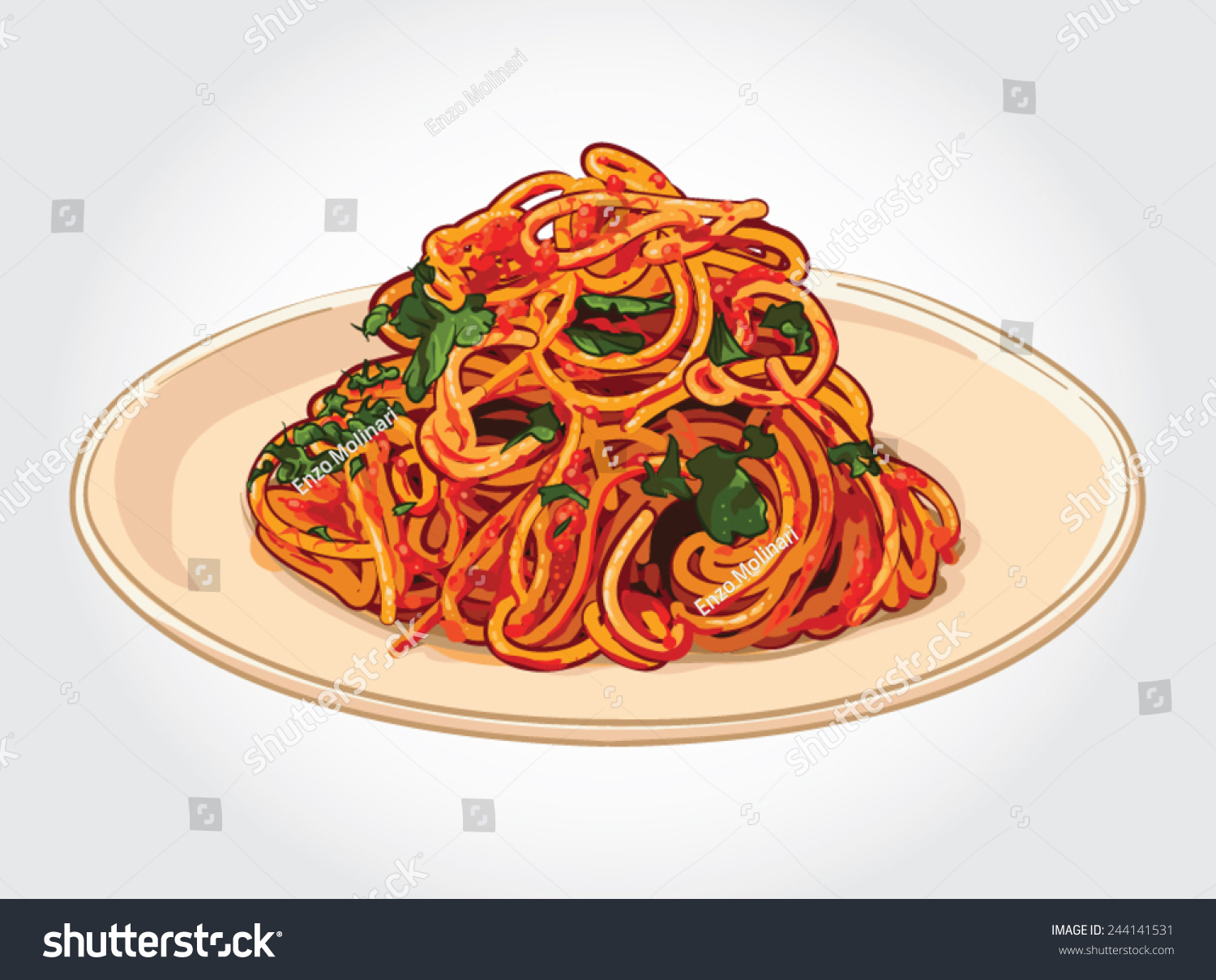 Hand Drawn Vector Illustration Spaghetti Spicy Stock ...