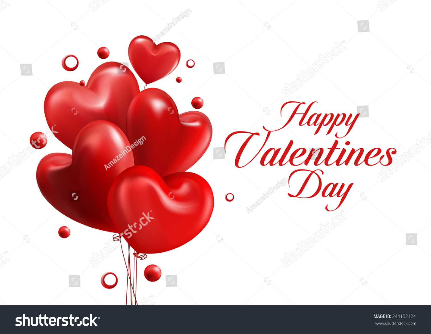 valentines day red sweet balloon hearts stock vector 244152124