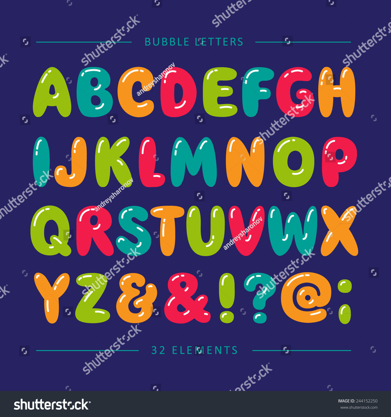 Cartoon Bubble Font Colorful Letters With Glint