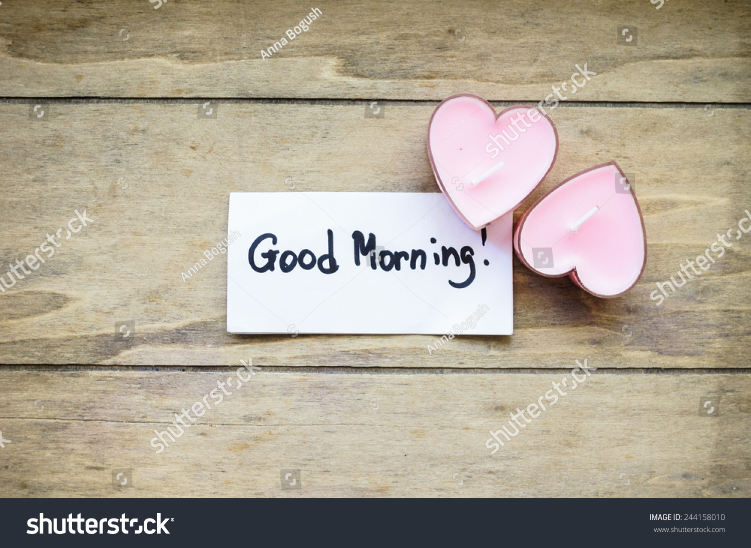 Good Morning Note Heart Shaped Candles Stock Photo Edit Now