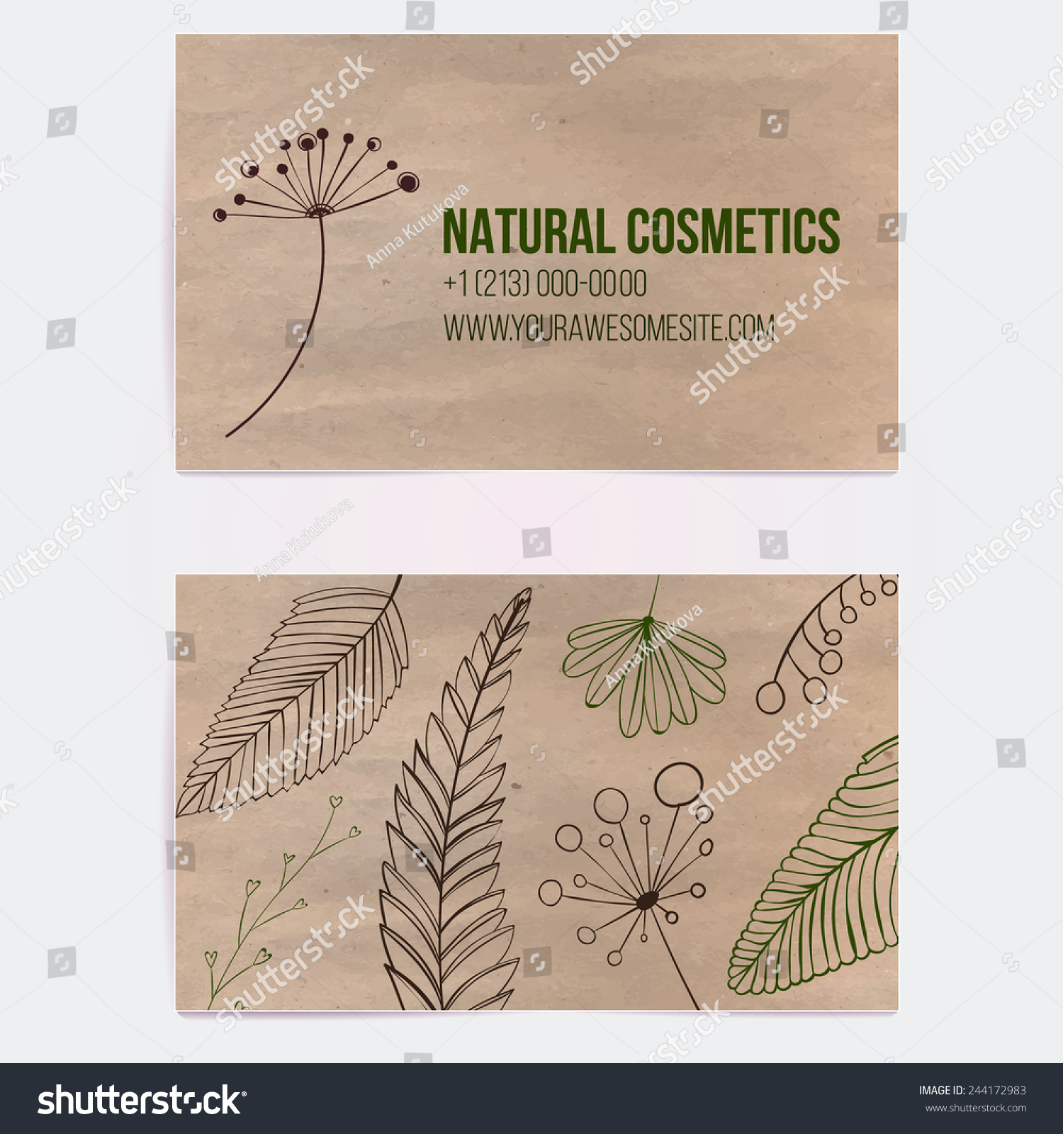 Two Sided Business Card Natural Cosmetics Stock Vector (2018 ...