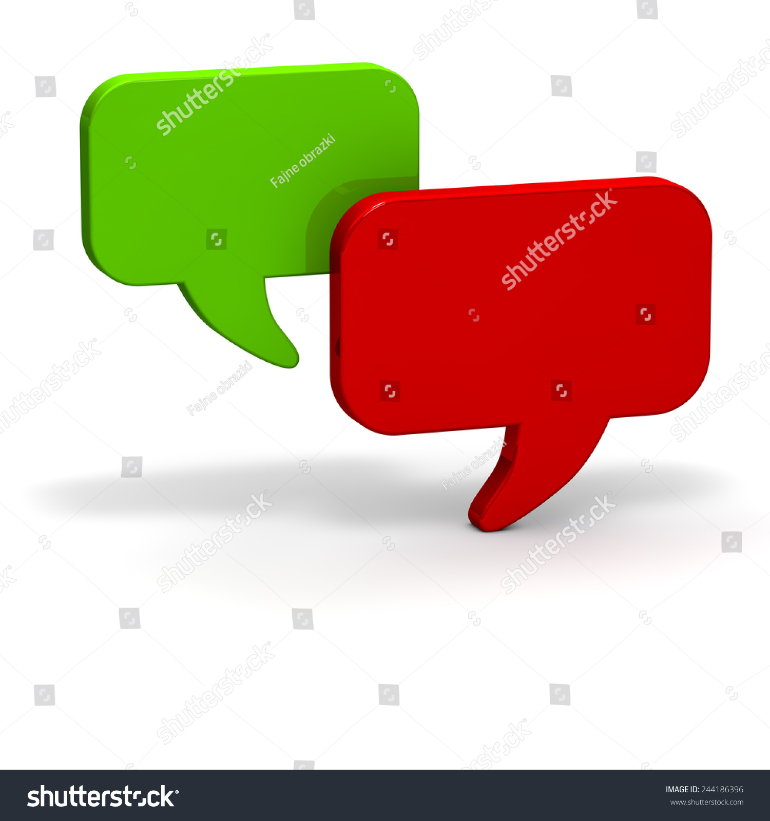 Dialog Balloons Red Green Chat Stock Illustration