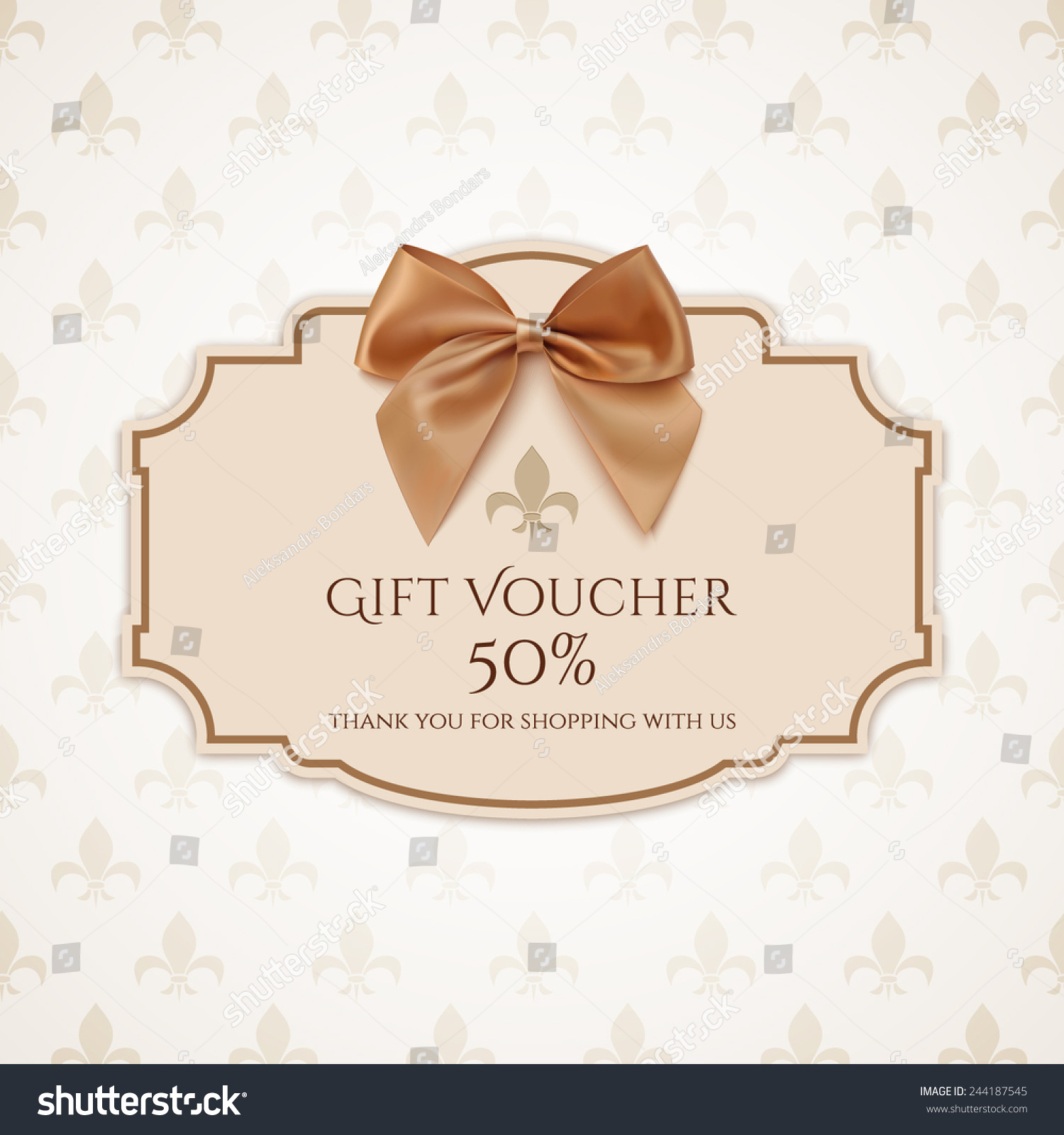 Gift Voucher Template Golden Ribbon Bow Stock Vector Hd Royalty