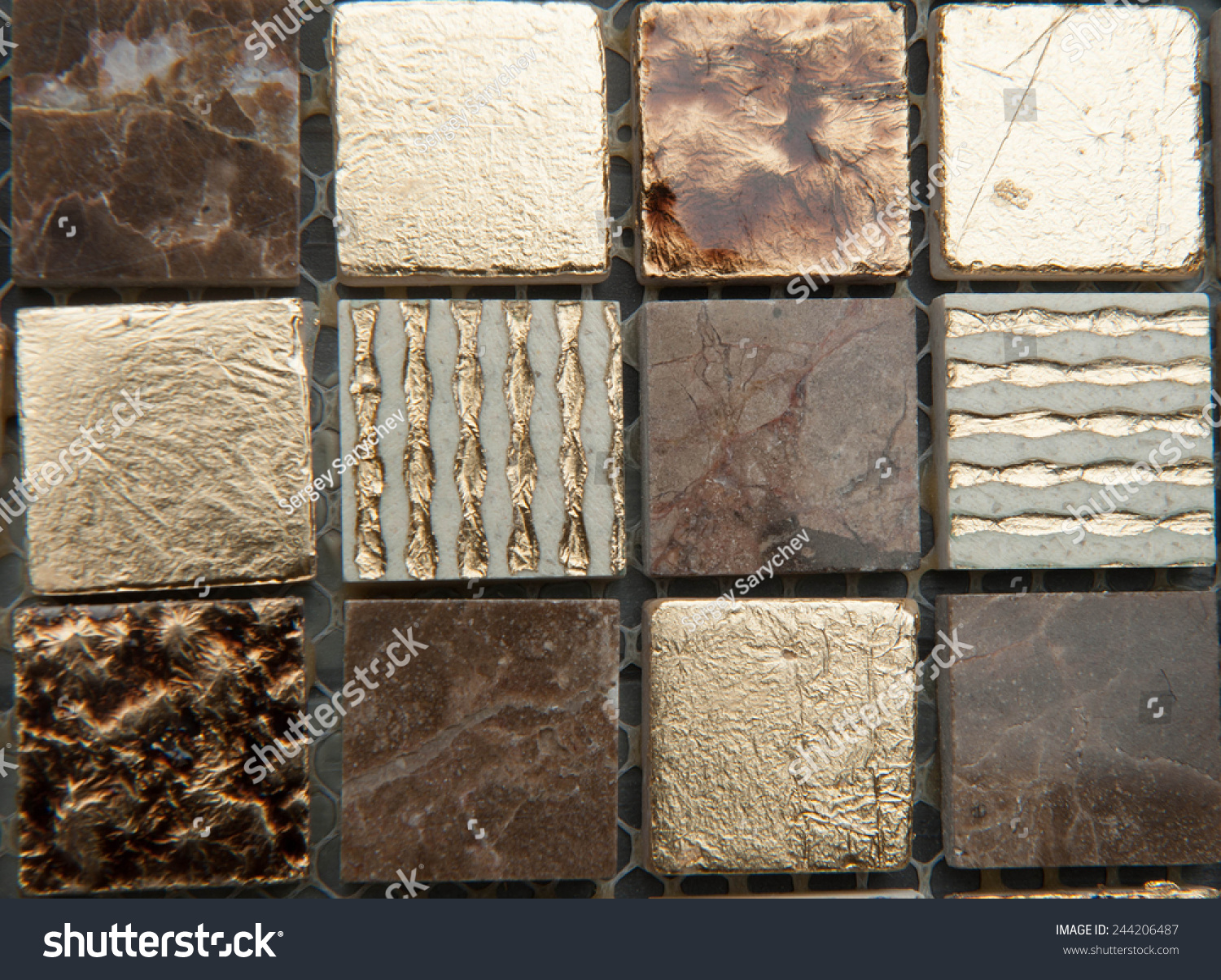 Mosaic Kitchen Floor Texture Mosaic Tiles Texture Mosaic Bathroom Stock Photo 244206487