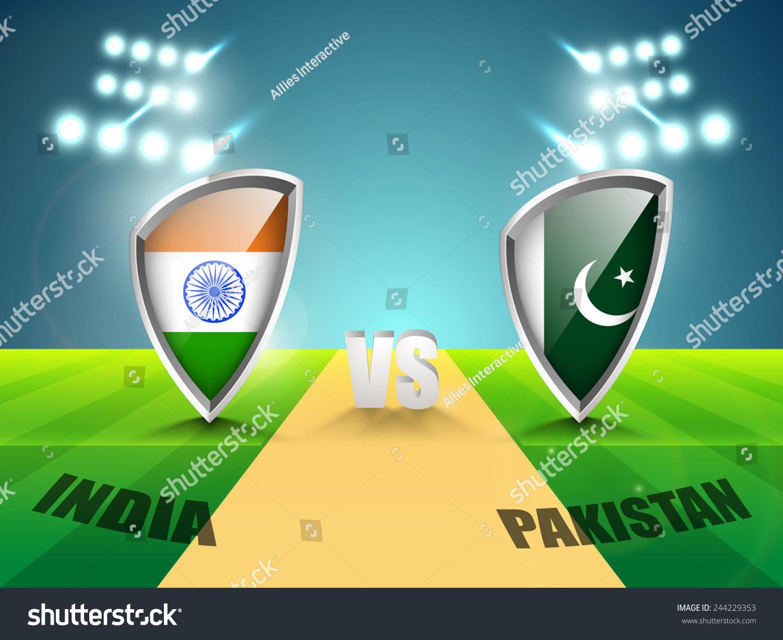 Cricket Vector Background Stock Image: India Vs Pakistan Cricket Match Concept Stock Vector