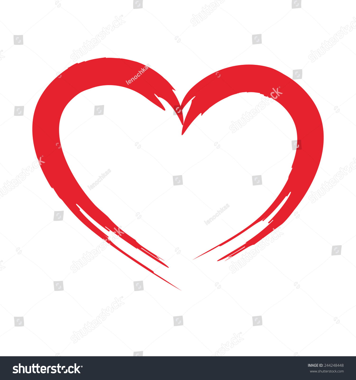 Drawing Brush Shape Heart Love Symbol Stock Illustration 244248448