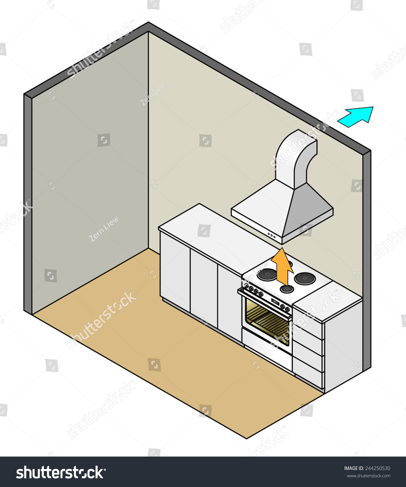 Range Hood Installation In A Kitchen. Arrows Show Air Circulation. Exhaust  Through Wall.