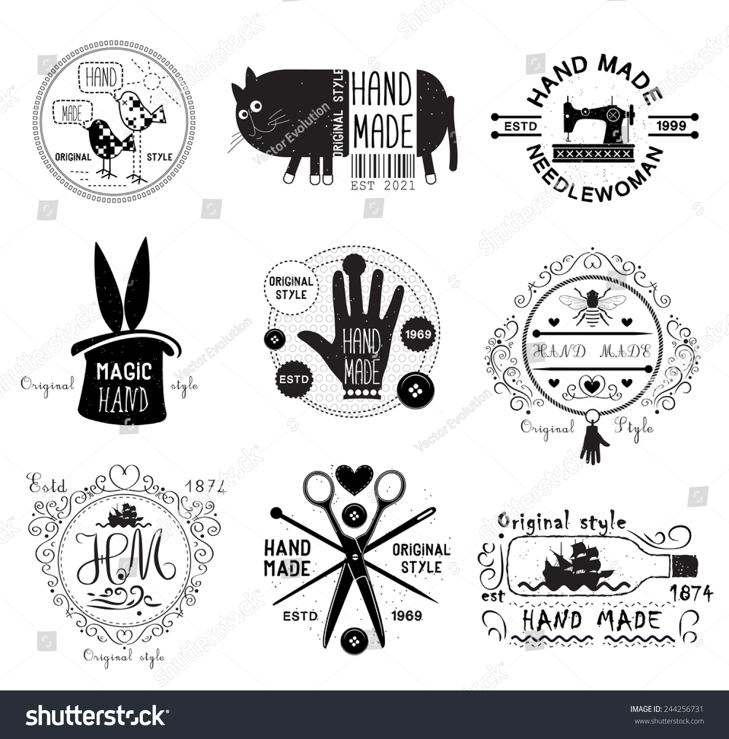 Easy Hand Mades Stock Vector Vintage Hand Made Logo Emblems Labels