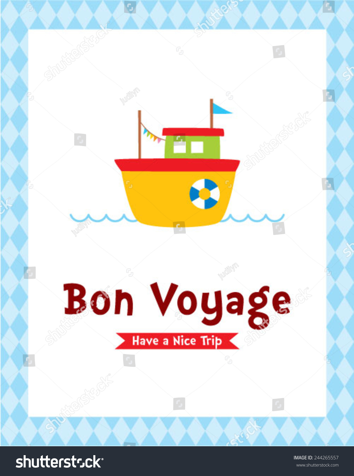 Bon voyage safety journey greeting card stock vector 244265557 bon voyage safety journey greeting card with boat graphic kristyandbryce Image collections