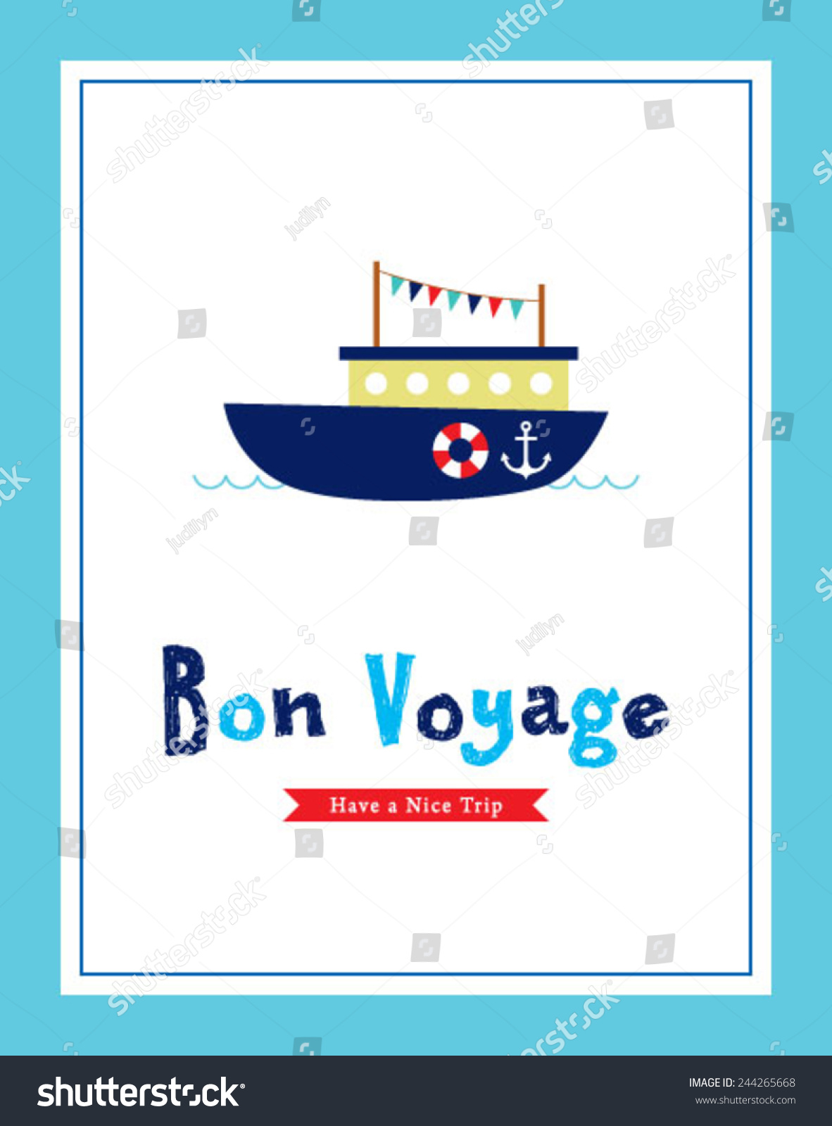 Bon voyage safety journey greeting card stock vector 2018 bon voyage safety journey greeting card with boat graphic m4hsunfo