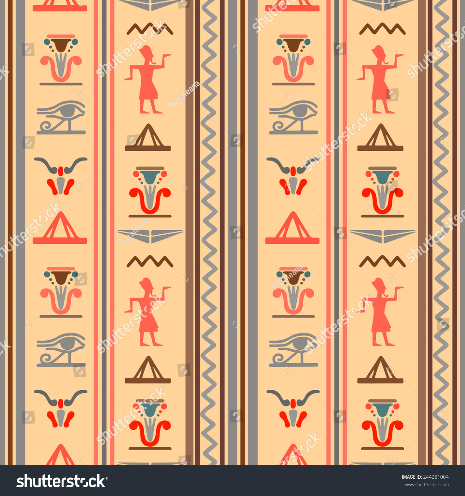Egyptian Seamless Pattern Eye Horus Pharaoh Stock Vector (Royalty ...