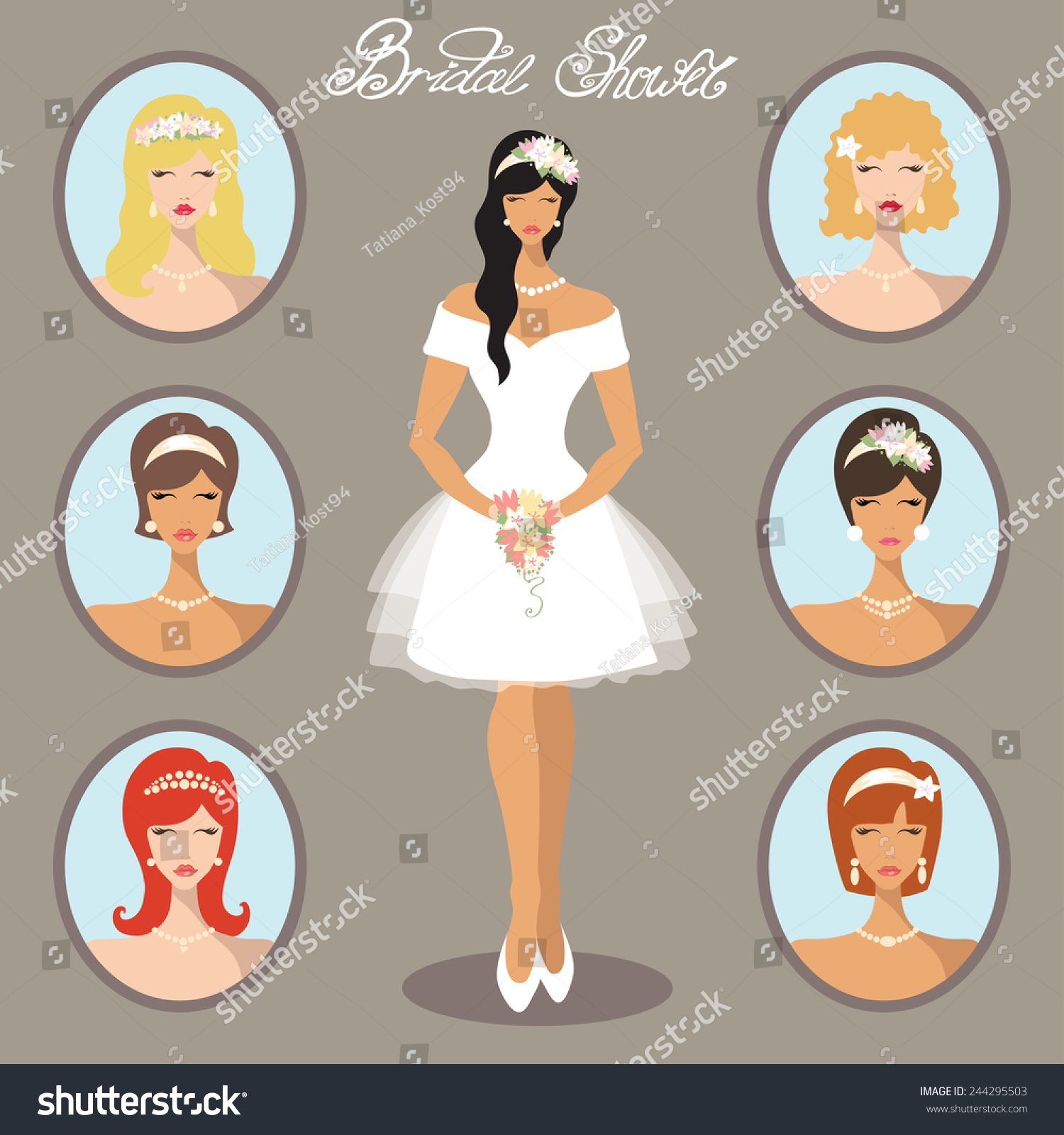 lovely bride hairstyleflat icons girlfemalewomen portraits different