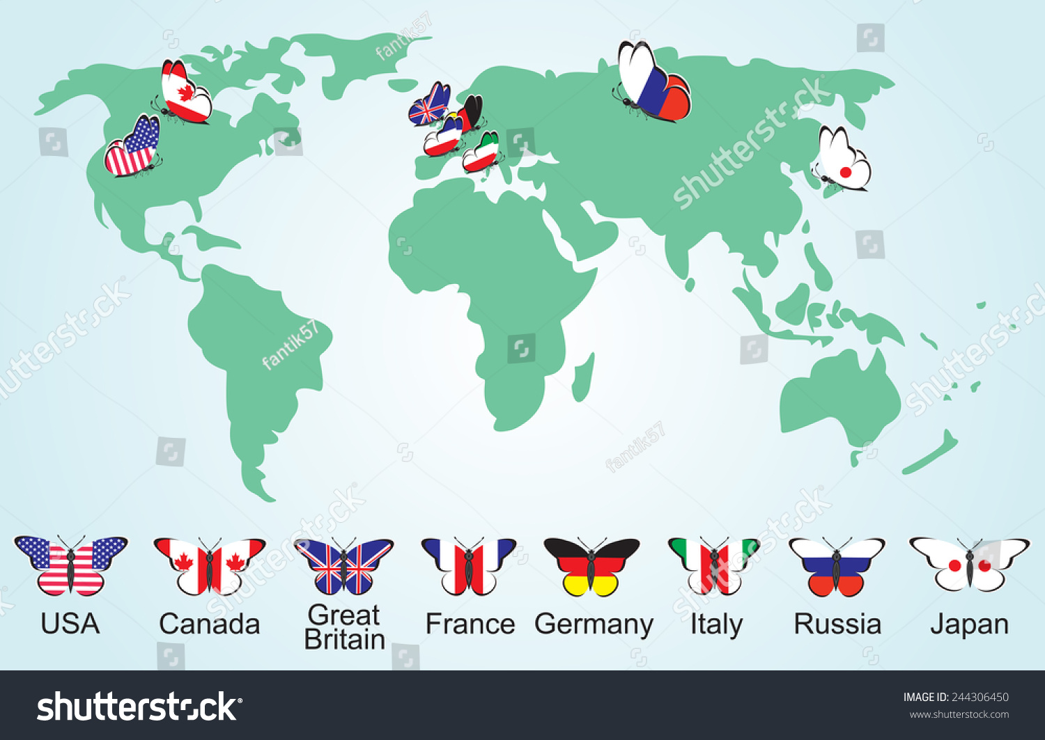 Great Eight On World Map Flags Stock Vector Royalty Free 244306450