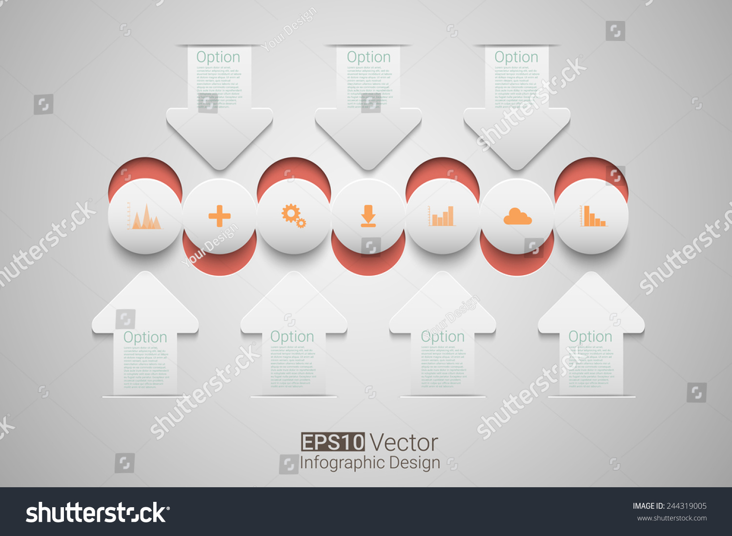 Creative Circles Arrows Infographic Template Timeline Stock Vector