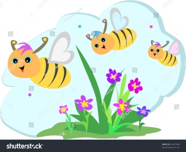 Flower garden cartoon - Bee Trio Flying In A Flower Garden Vector