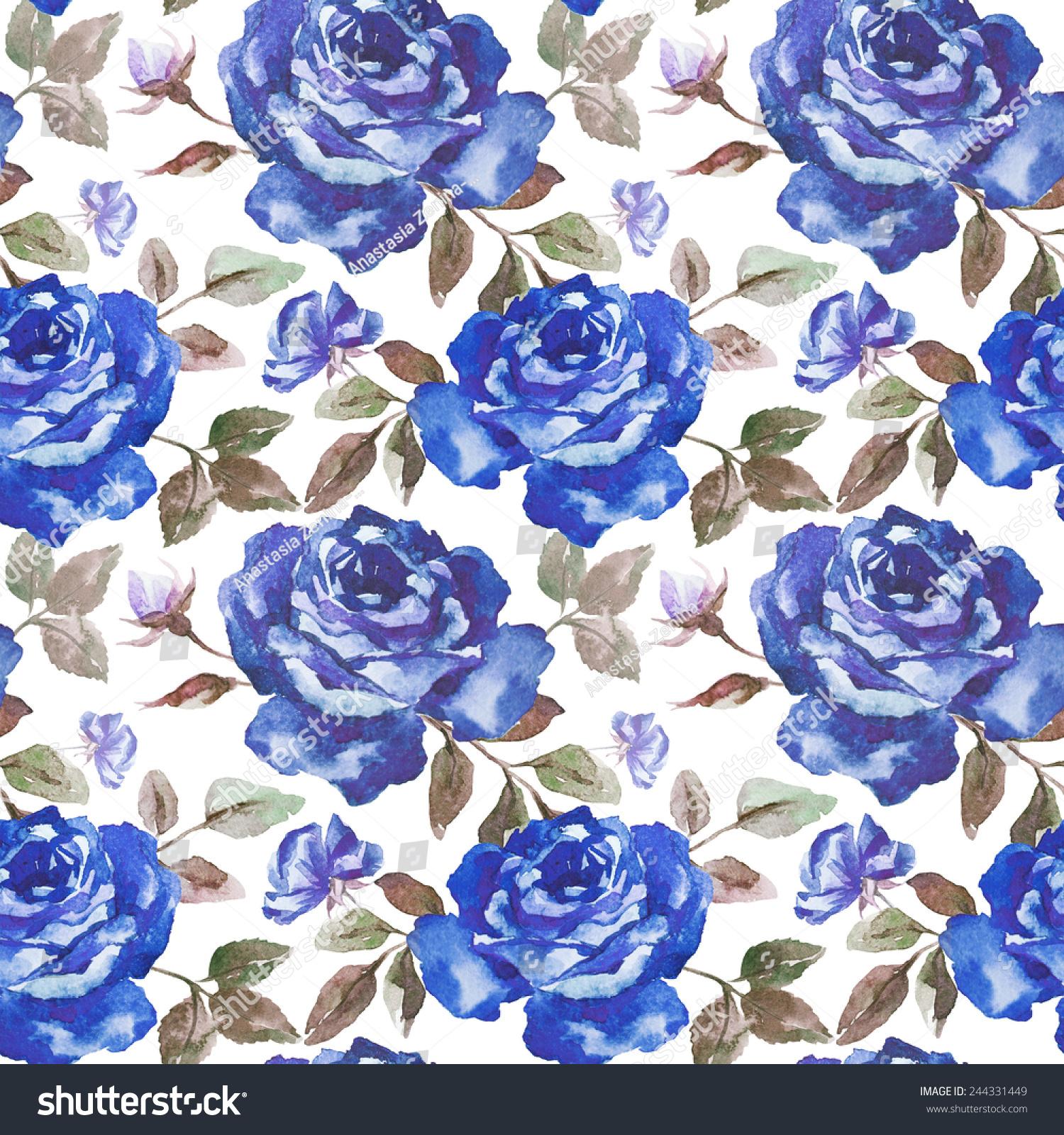 Ilustración De Stock Sobre Rose Pattern Watercolor Wallpaper