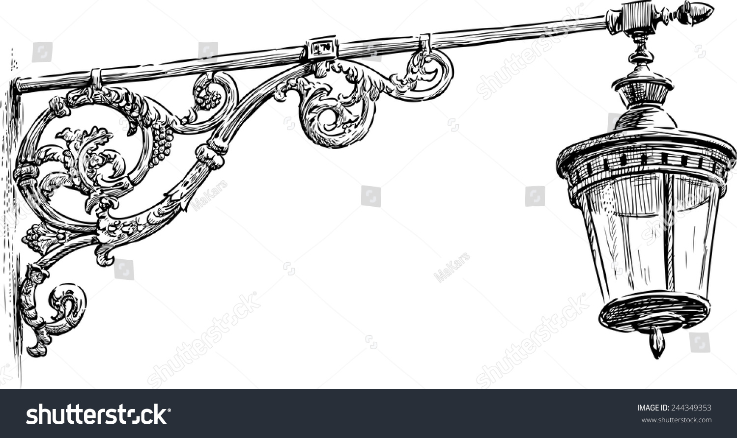 Old Street Lamp Stock Vector 244349353 - Shutterstock for Street Lamp Drawing  117dqh