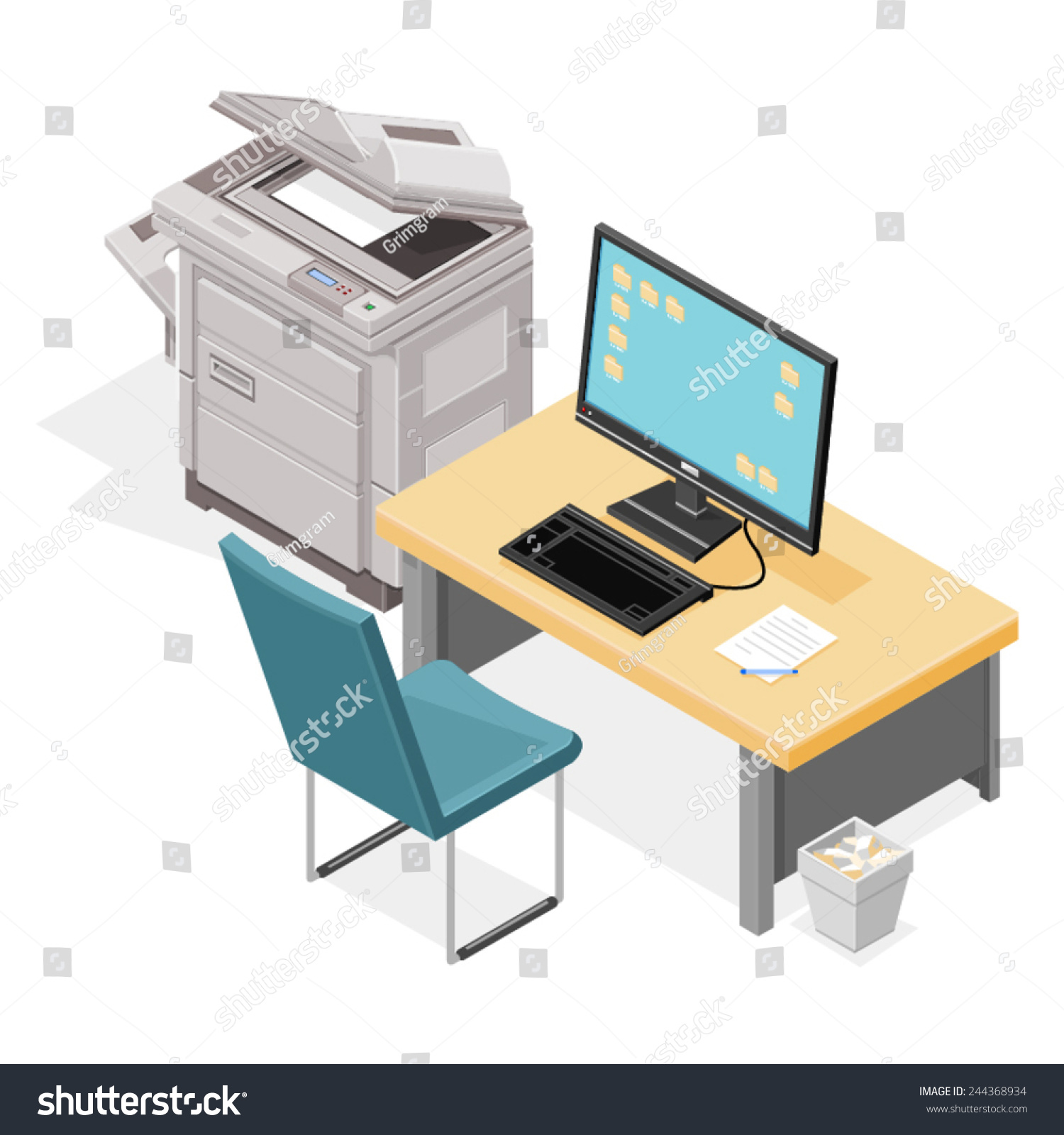 modern office space with table chair computer and photocopier modern office space