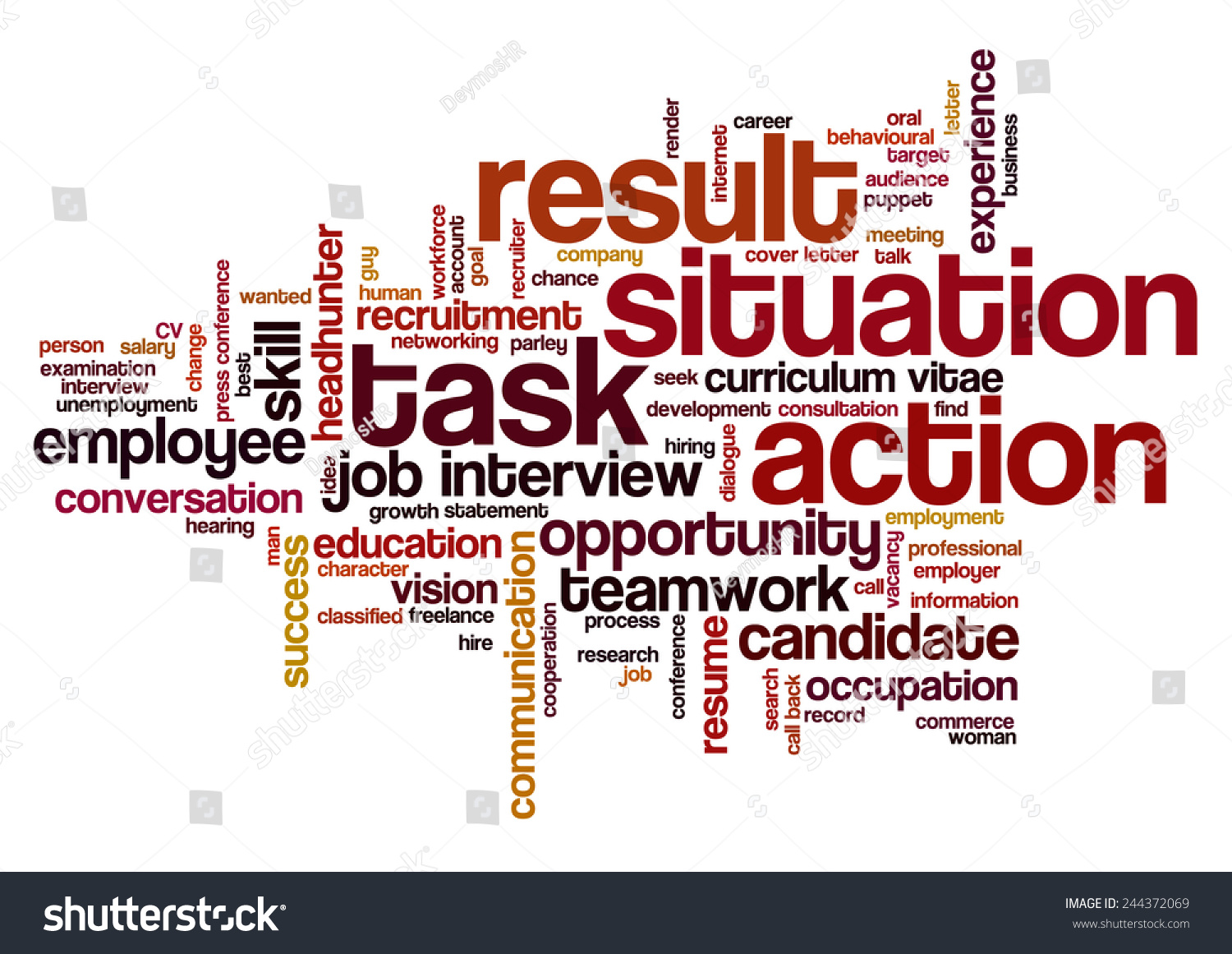 royalty word cloud related to behavioral job 244372069 word cloud related to behavioral job interview keywords situation task action and result emphasized star model stock vector