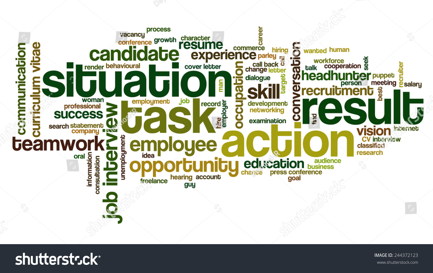 word cloud related behavioral job interview stock vector  word cloud related to behavioral job interview keywords situation task action and result