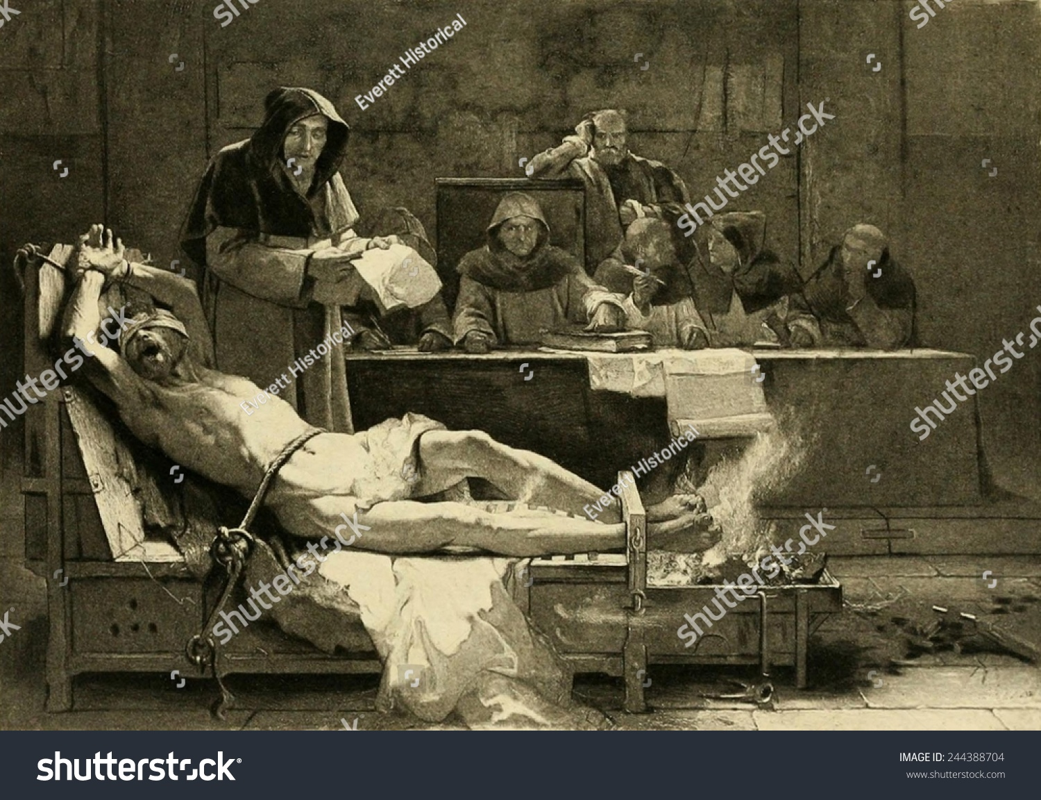 victim spanish inquisition being tortured before stock illustration
