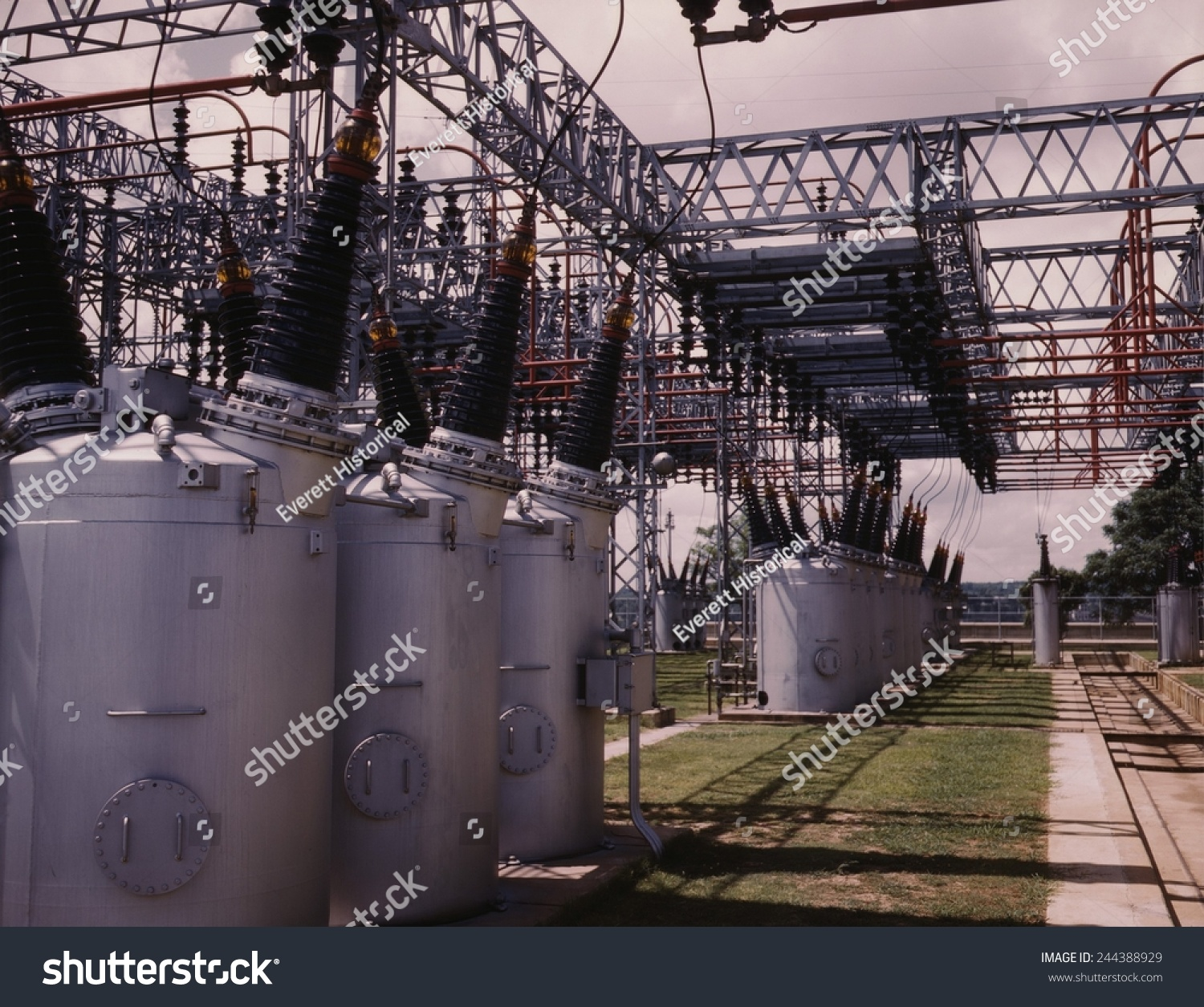 Switchyard TV As Wilson Dam Hydroelectric Plant Stock Photo