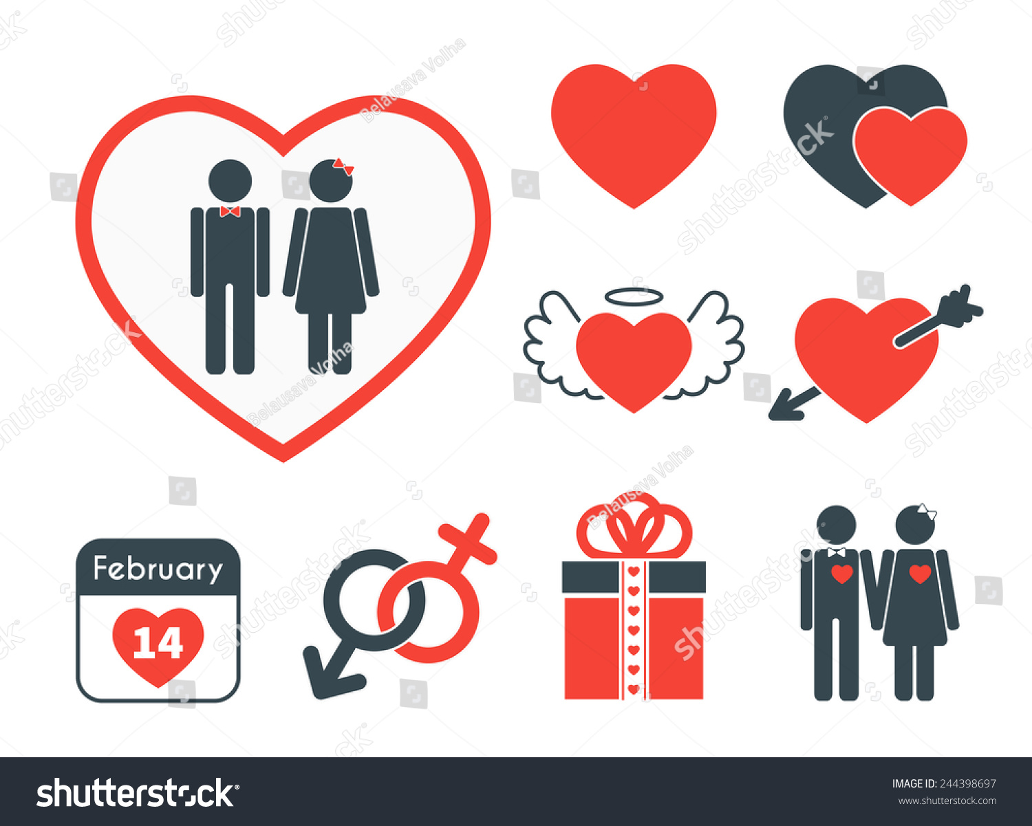 set of icons on the theme of love and valentines day vector red and blue