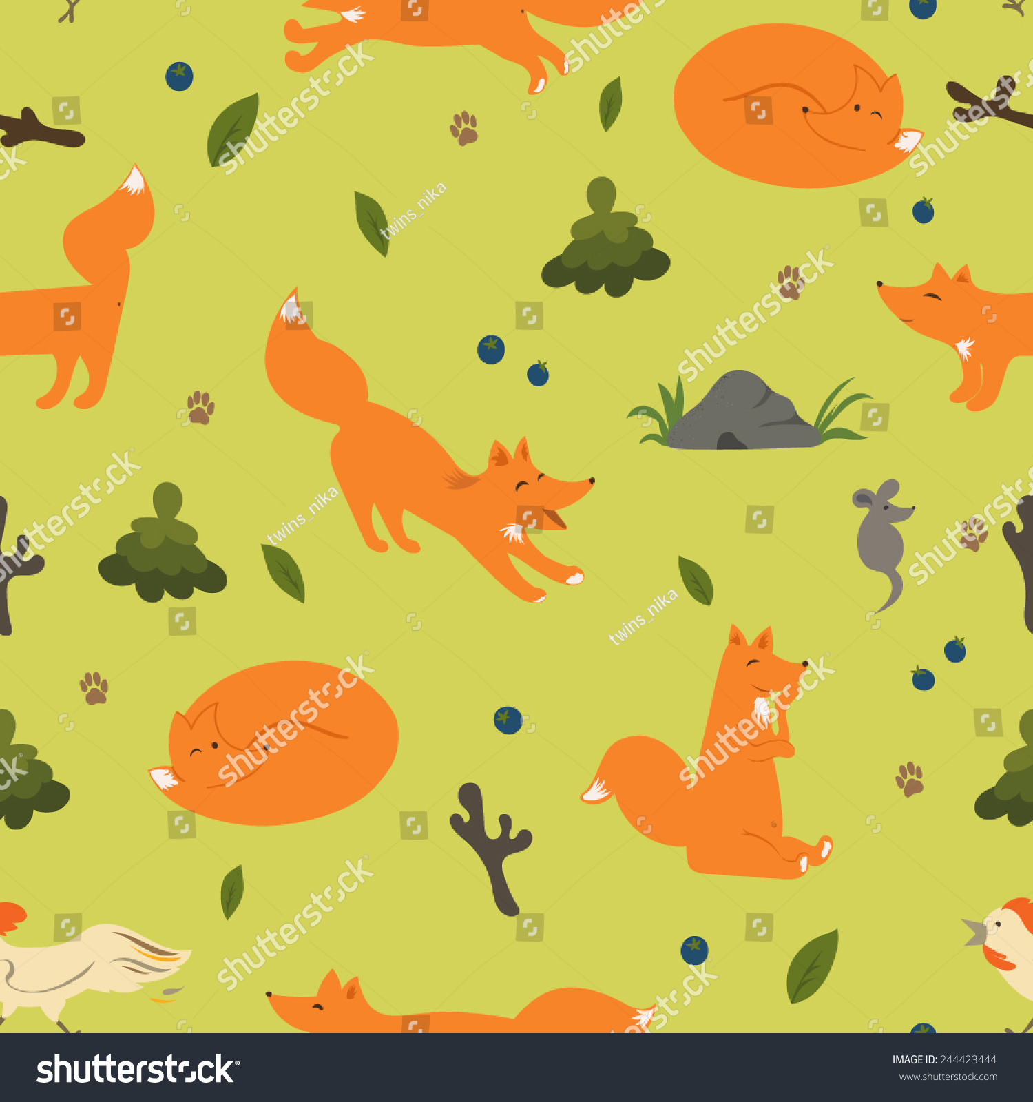 Forest vector seamless pattern with animals. Fox, mouse and cock.