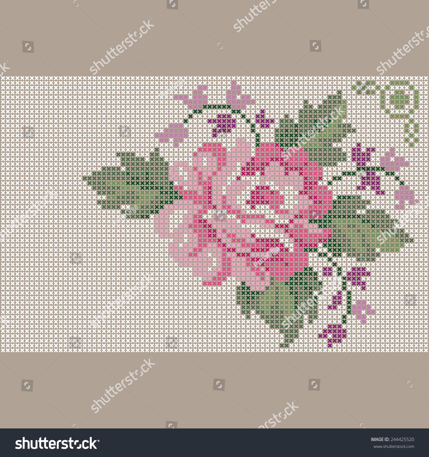 Stitch Cross Rose Stock Vector Illustration 244425520 : Shutterstock