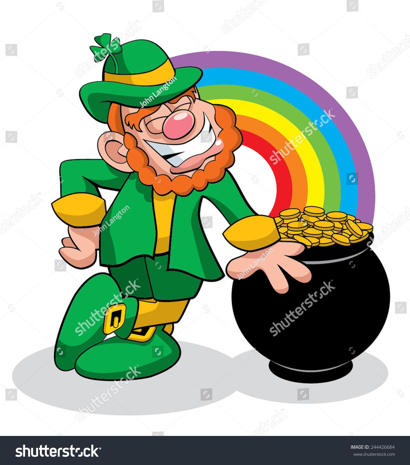 leprechaun pot gold stock vector 244426684 shutterstock