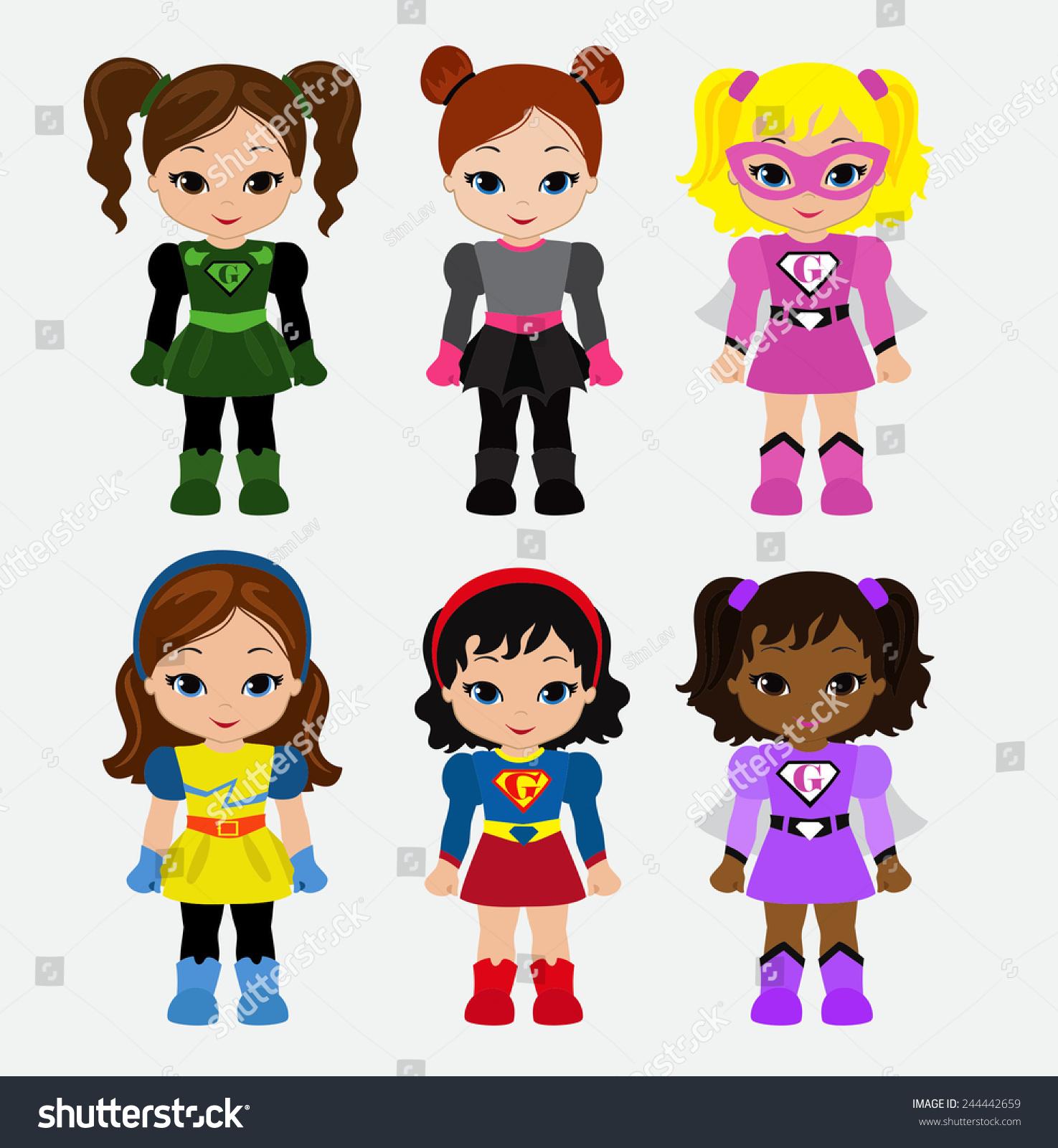 Cute Superhero Girl Vector Clip Art Stock Vector 244442659 ...