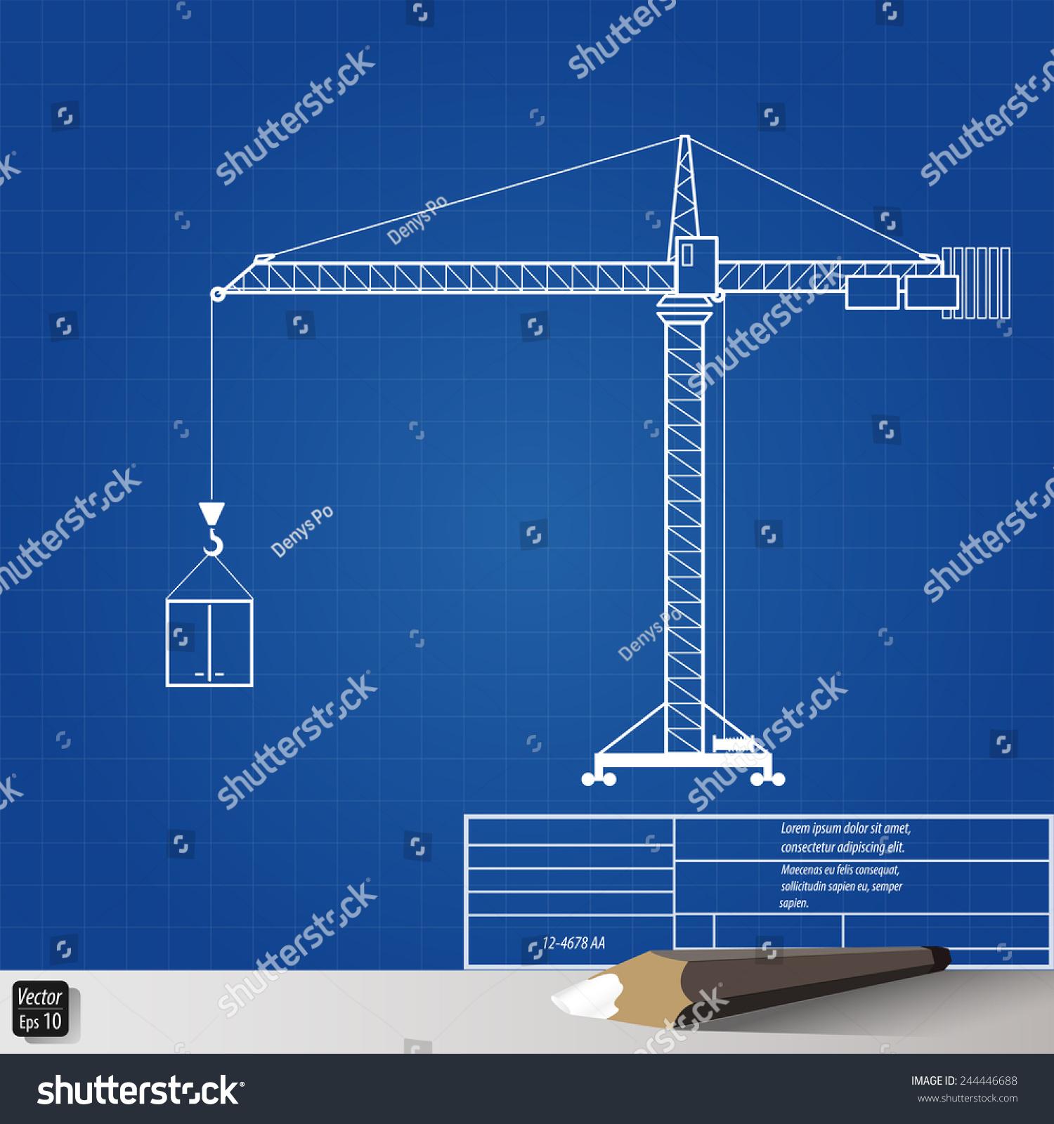 Blueprint drawing tower crane vector illustration stock vector blueprint drawing tower crane vector illustration eps 10 malvernweather Choice Image