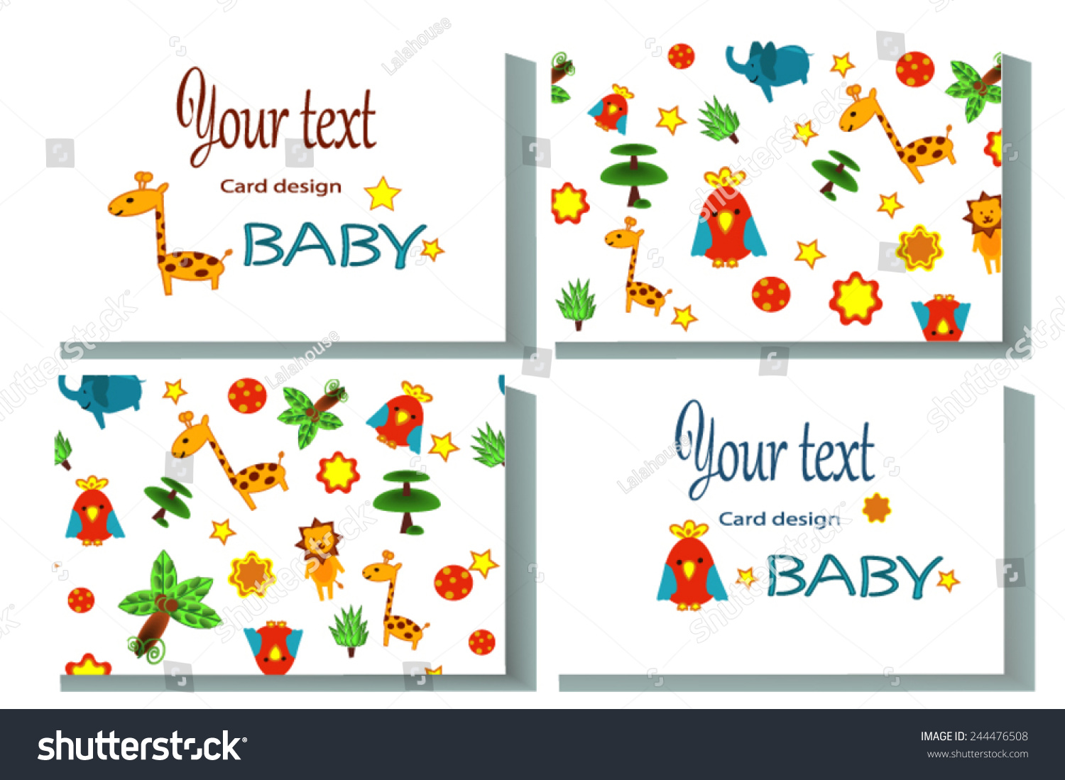 calling card name card african animals stock vector 244476508