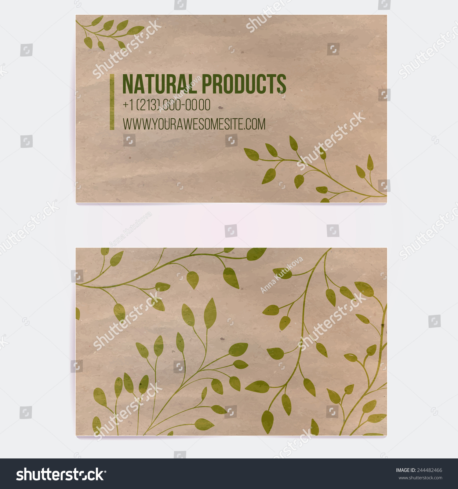 Two sided business card natural cosmetics stock vector for Craft paper card stock