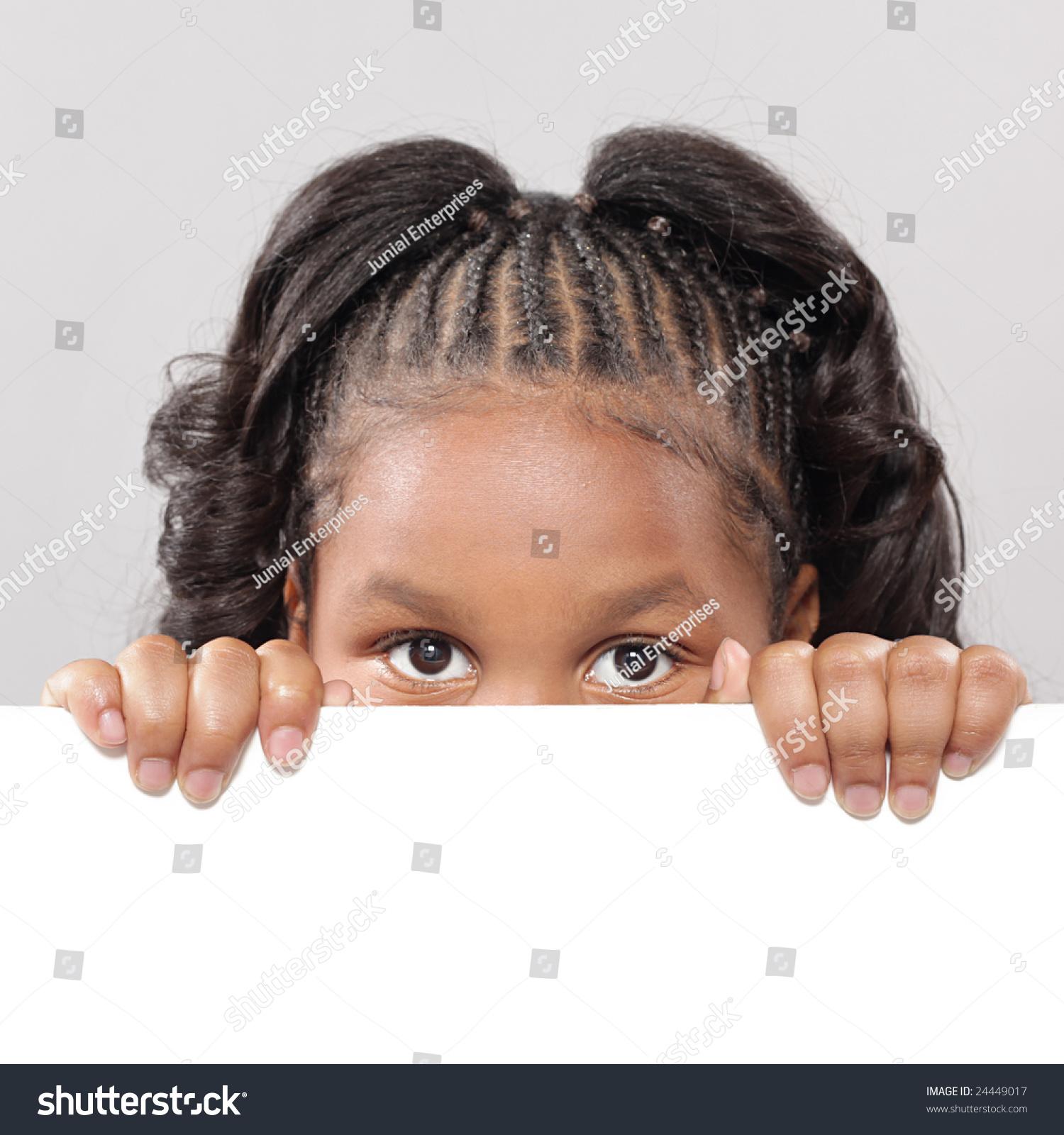 Little Girl Peeking Behind Copy Space Stock Photo 24449017