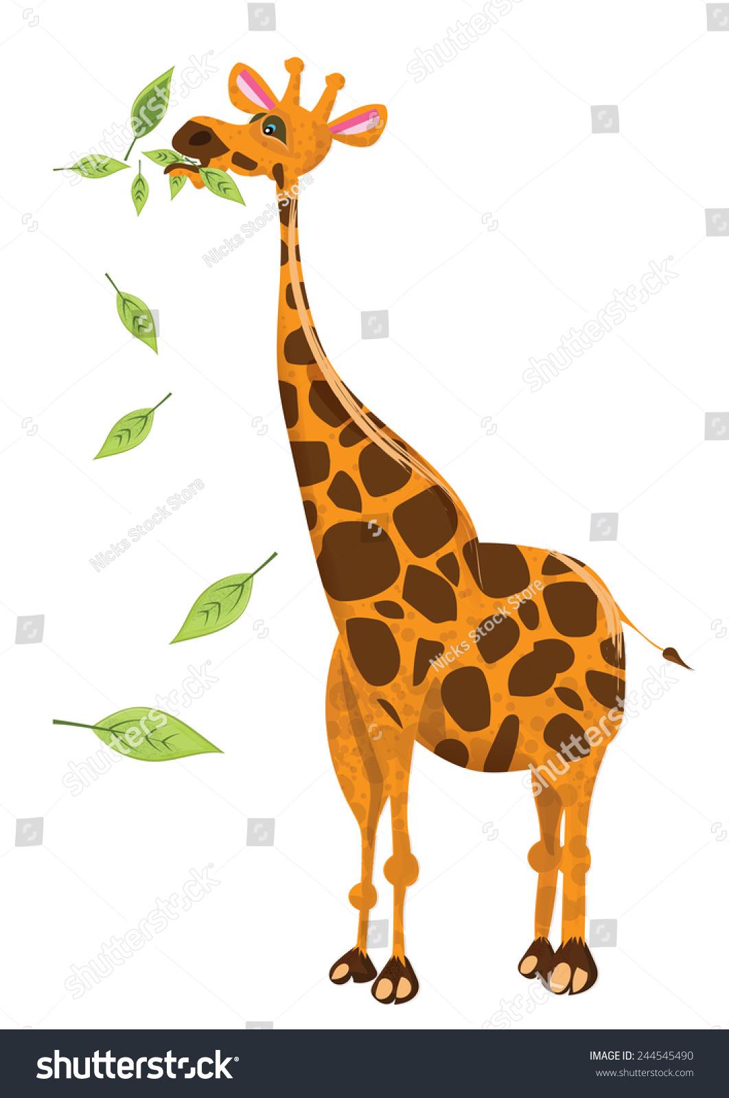 cute giraffe chewing on leaves cartoon stock illustration
