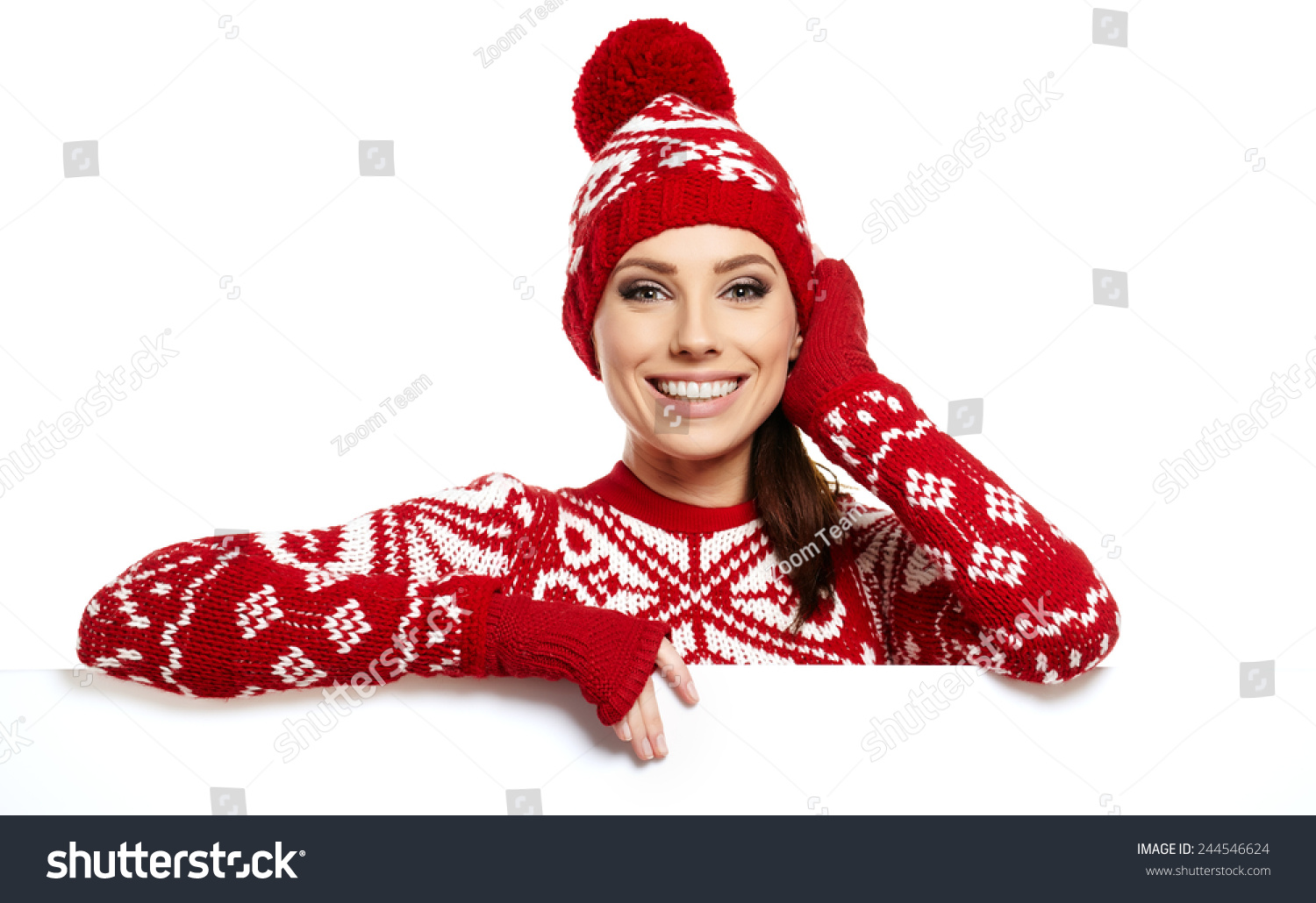 3001c34fb511 Winter Girl Happy Smile Hold Sale Stock Photo (Edit Now) 244546624 ...