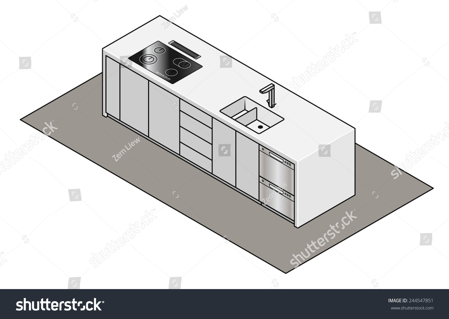 Excellent Kitchen Island Bench Builtin Sink Tap Stock Vector Royalty Alphanode Cool Chair Designs And Ideas Alphanodeonline