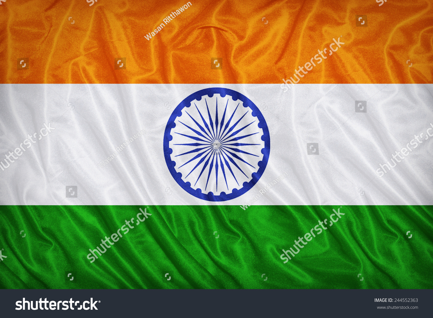 Clothe India Flag Hd: India Flag Pattern On Fabric Texture Stock Photo 244552363