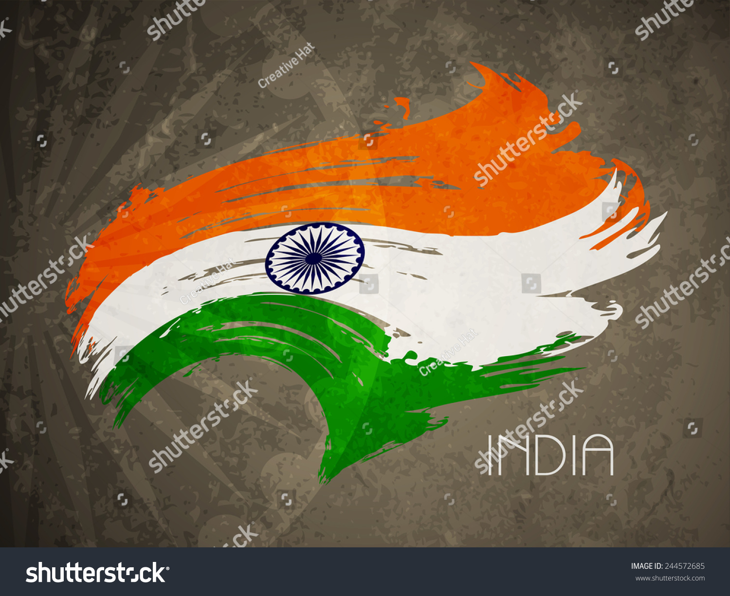 Indian Flag Theme: Grunge Texture Indian Flag Theme Background Stock Vector