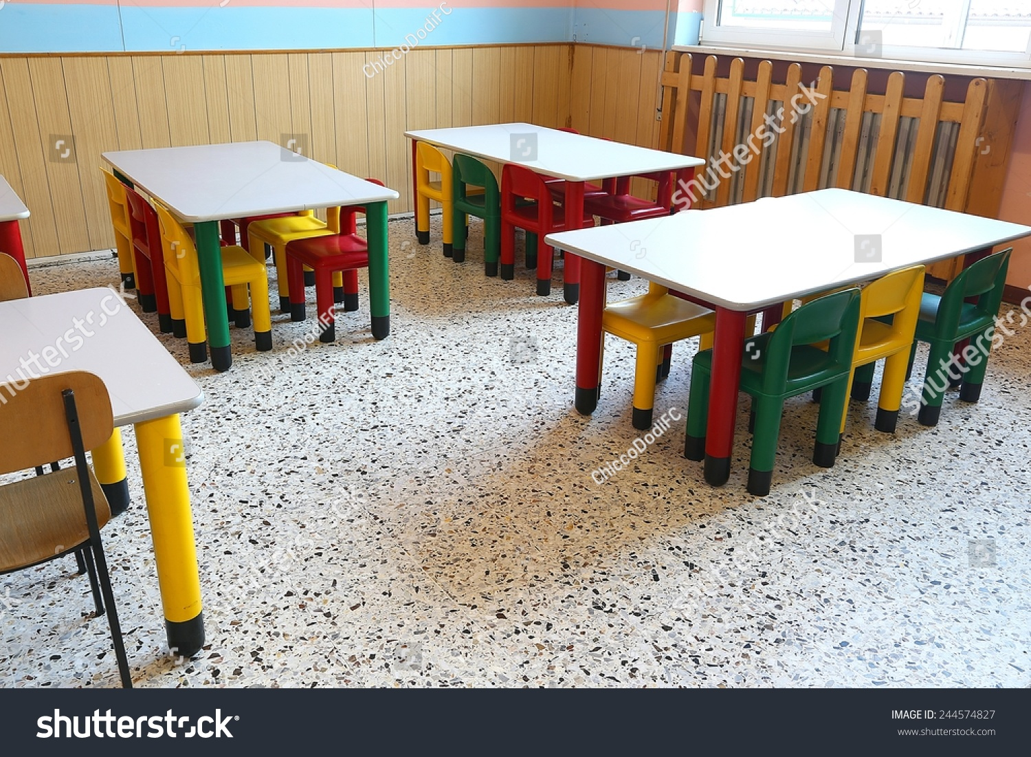 colored plastic chairs small tables school stock photo royalty free