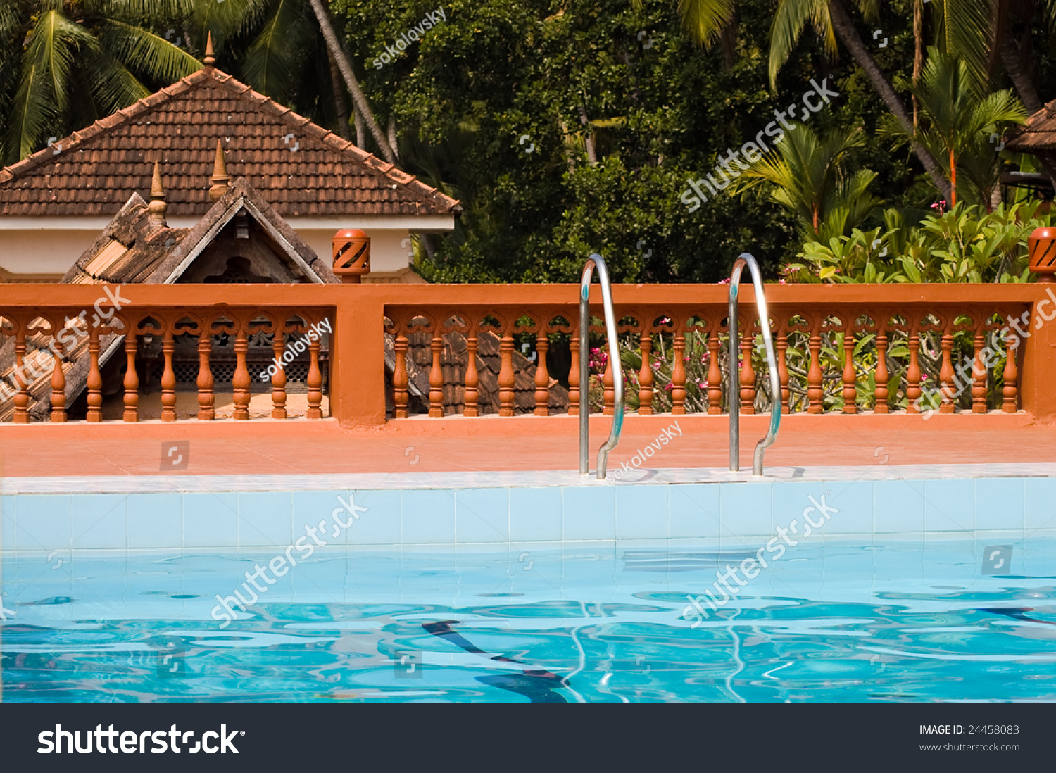 Recreation Area With Swimming Pool In Indian Holiday Resort Kerala Stock Photo 24458083