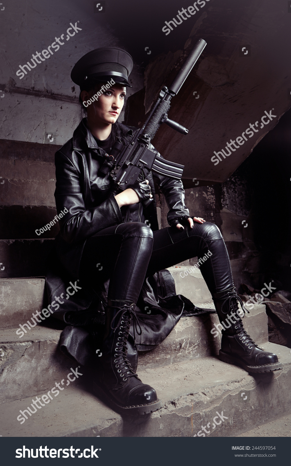 Fetish leather military woman on patrol