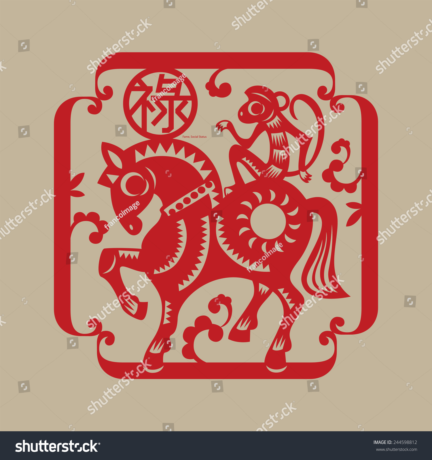 Chinese lucky symbol monkey rides horse stock vector 244598812 chinese lucky symbol monkey rides a horse implicates a noble title conferred to people buycottarizona Images